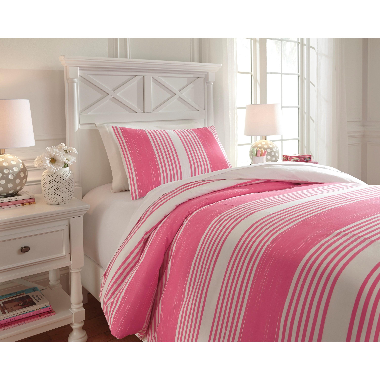 ashley signature design bedding sets q729021t twin taries pink duvet cover set dunk bright. Black Bedroom Furniture Sets. Home Design Ideas