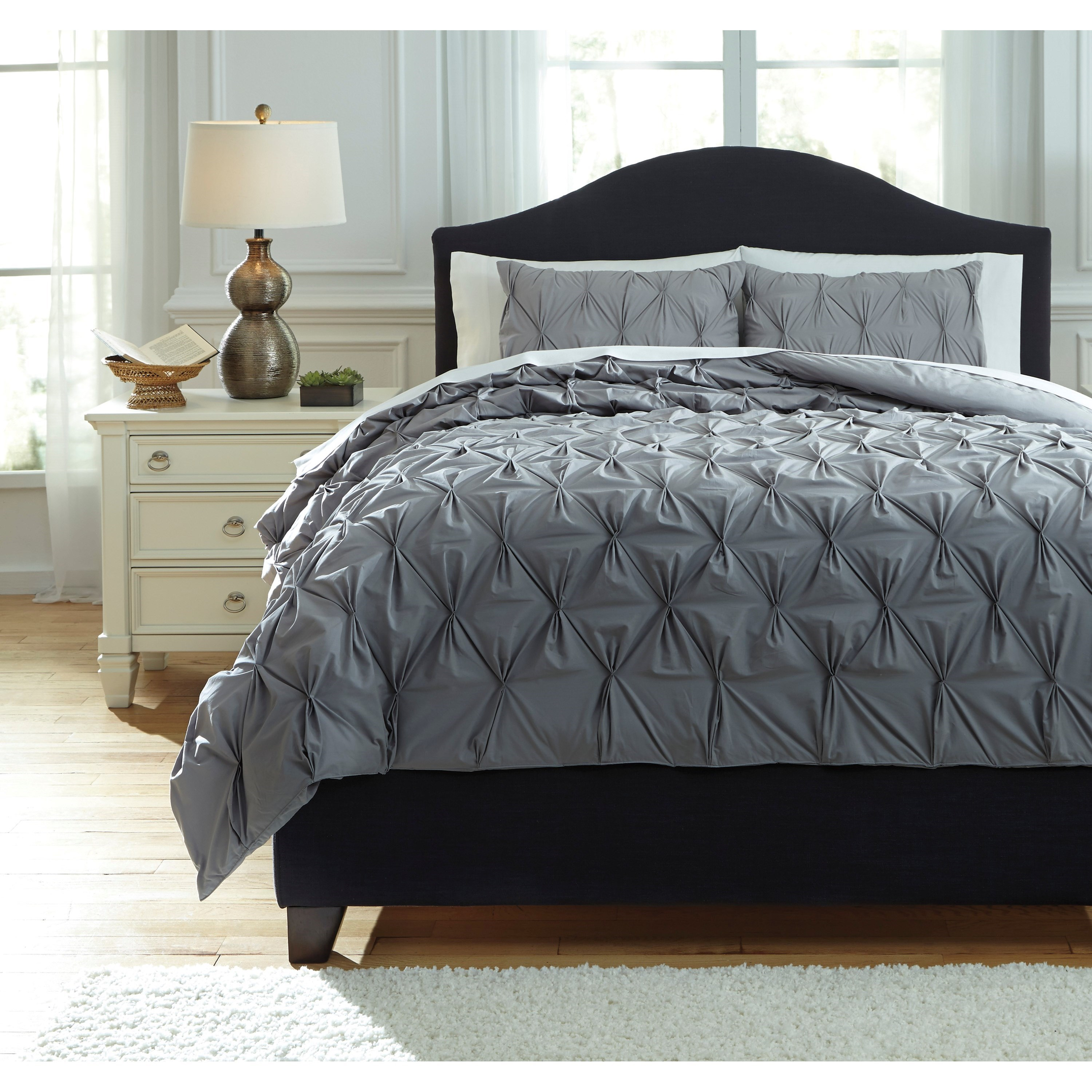 Ashley signature design bedding sets queen rimy gray for Bedding sets queen