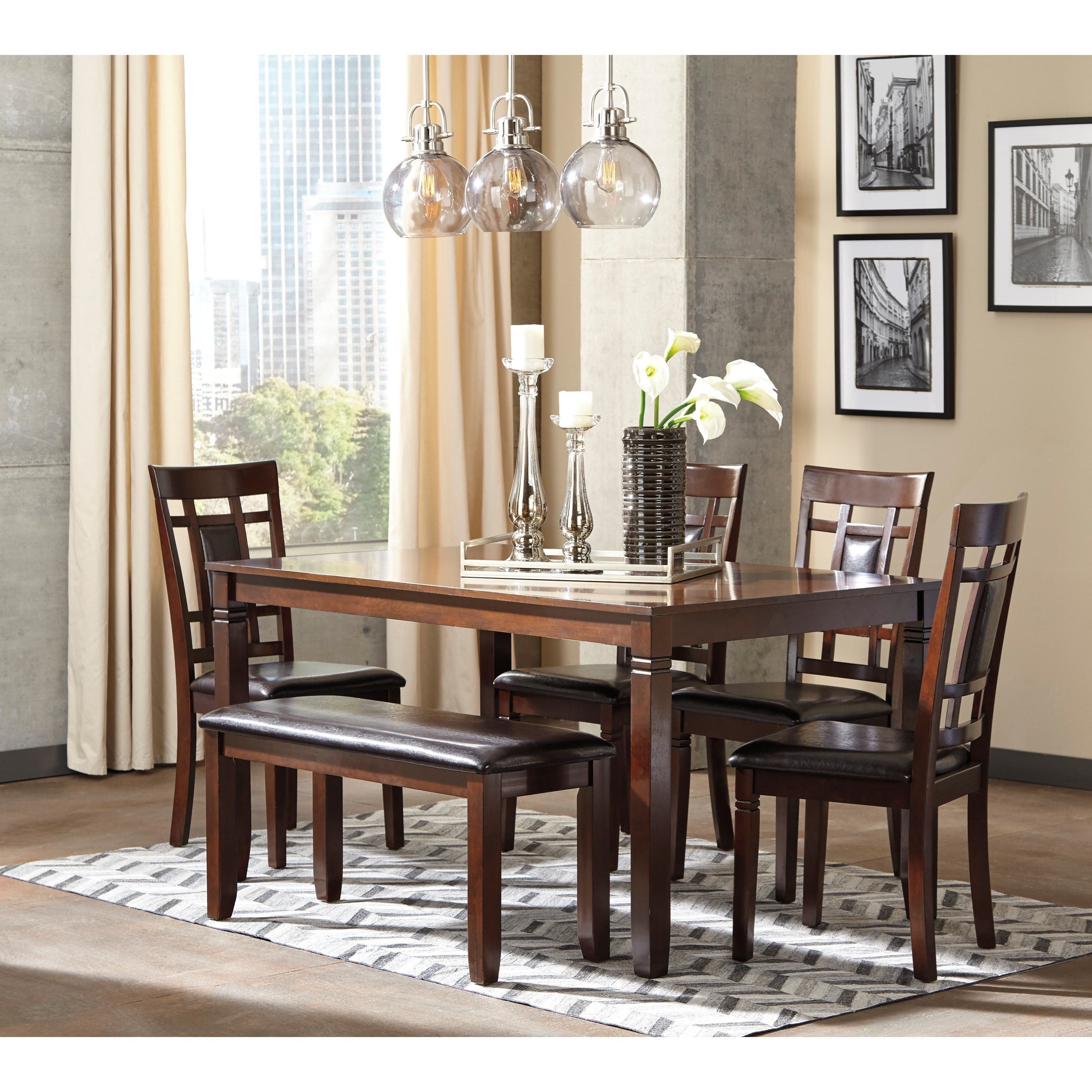 signature design by ashley bennox contemporary 6 piece dining room table set with bench royal. Black Bedroom Furniture Sets. Home Design Ideas