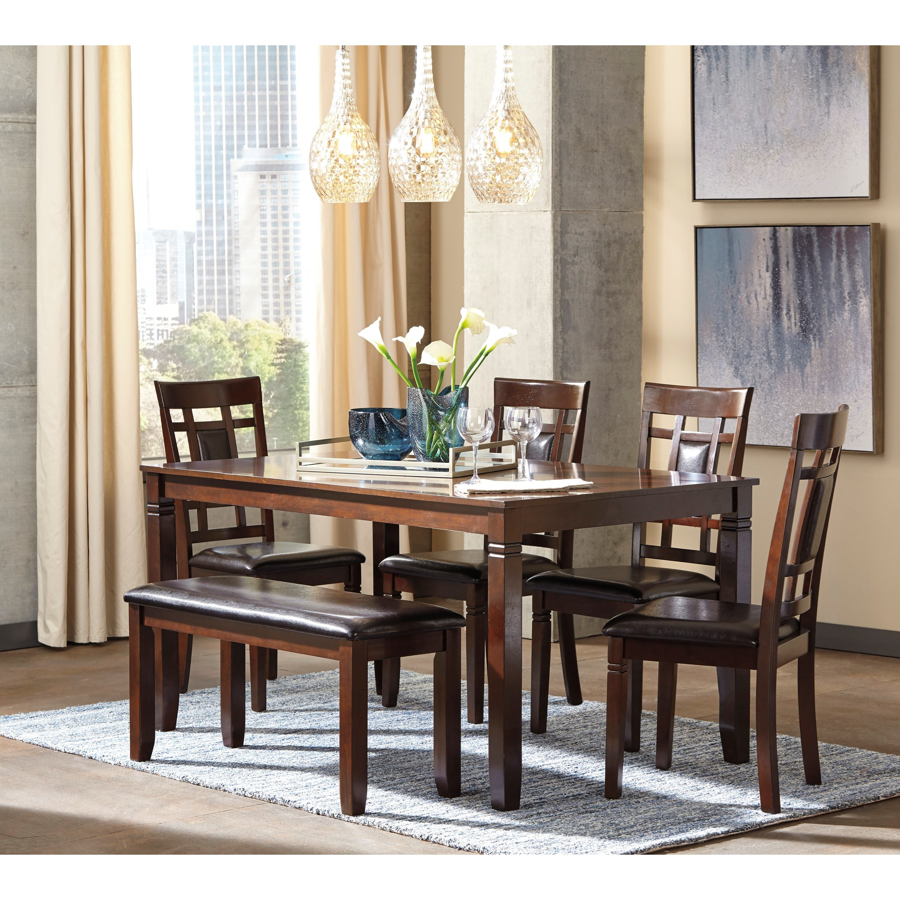 signature design by ashley bennox contemporary 6 piece dining room table set with bench olinde. Black Bedroom Furniture Sets. Home Design Ideas