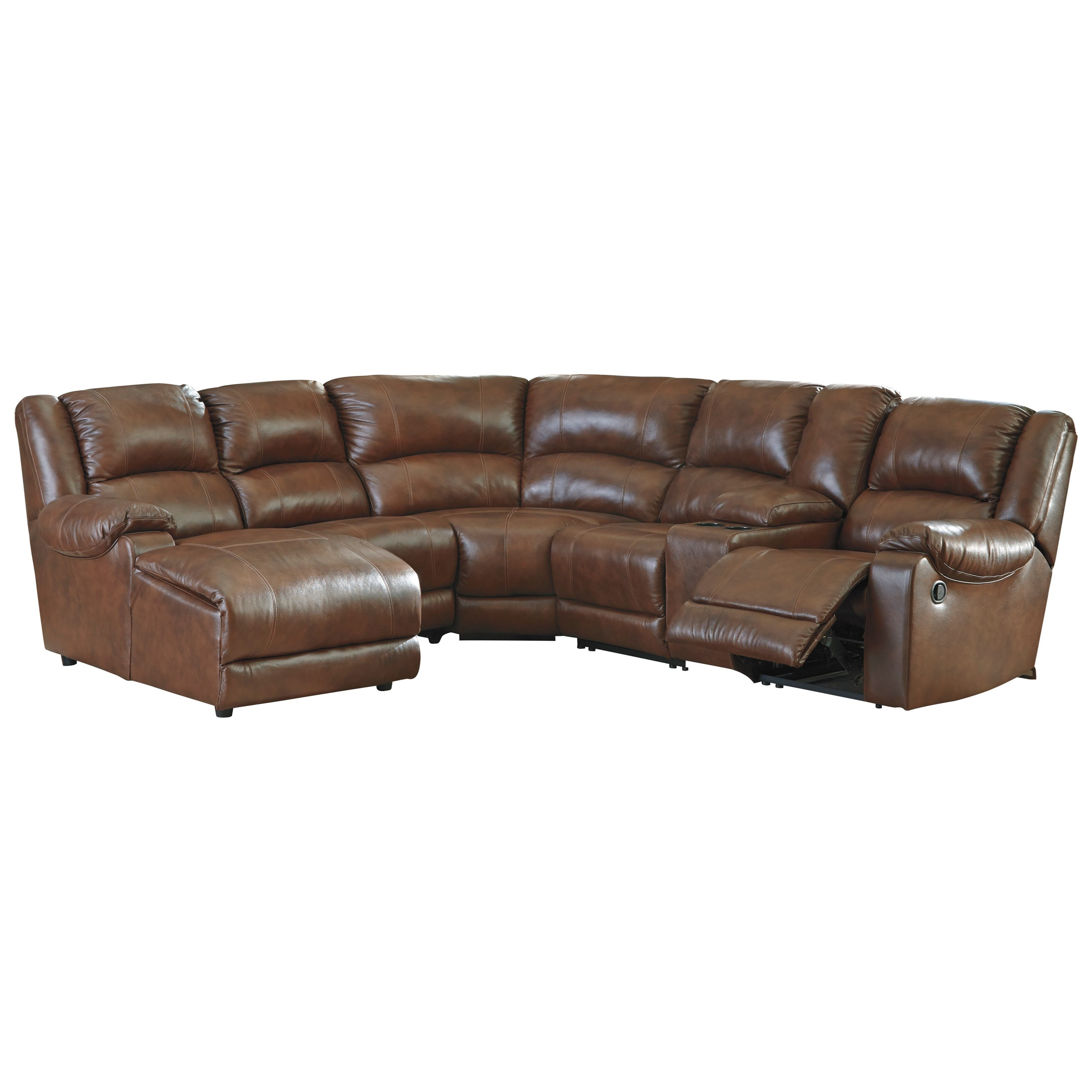 Signature design by ashley billwedge leather match reclining sectional with left chaise - Leather reclining sectional with chaise ...