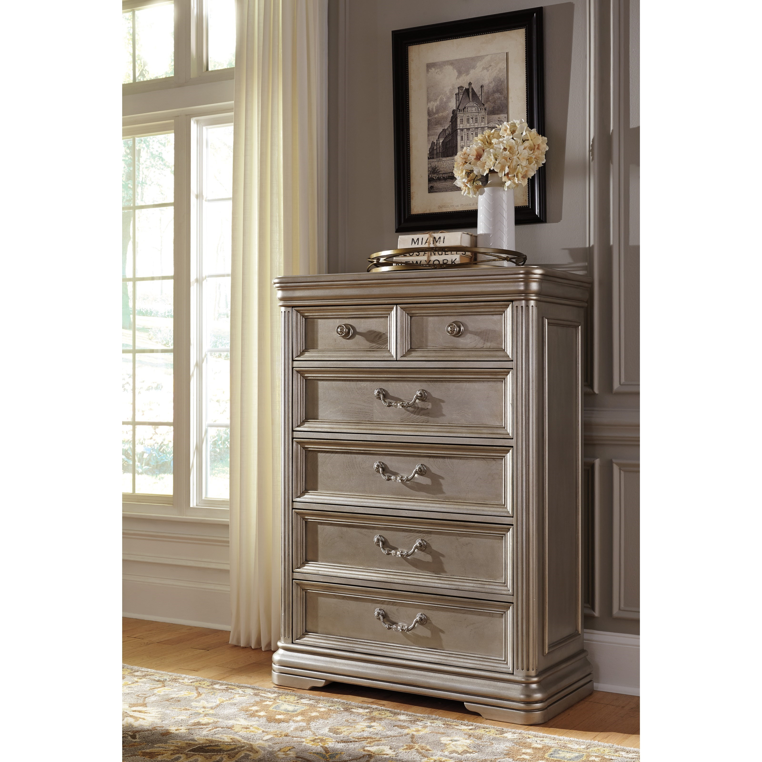 Signature Design By Ashley Birlanny Five Drawer Chest In Silver Finish Royal Furniture