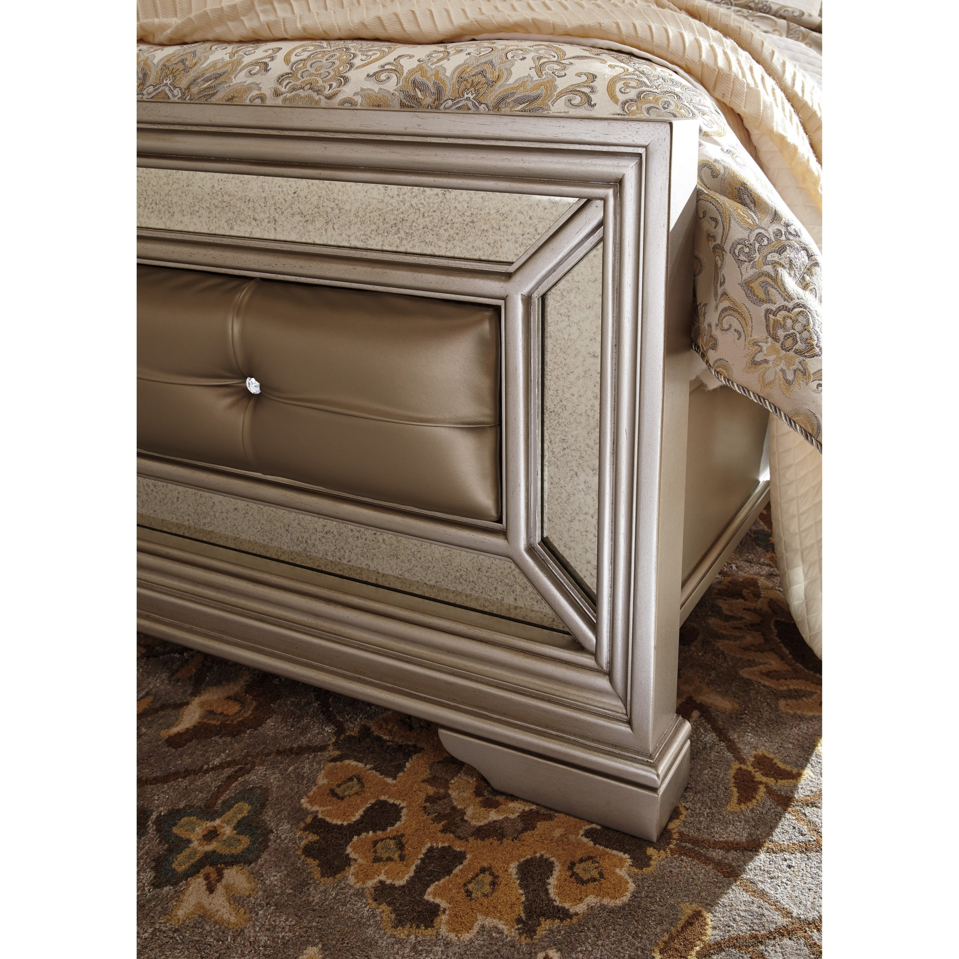 Signature Design By Ashley Birlanny Queen Upholstered Bed In Silver Finish Olinde 39 S Furniture