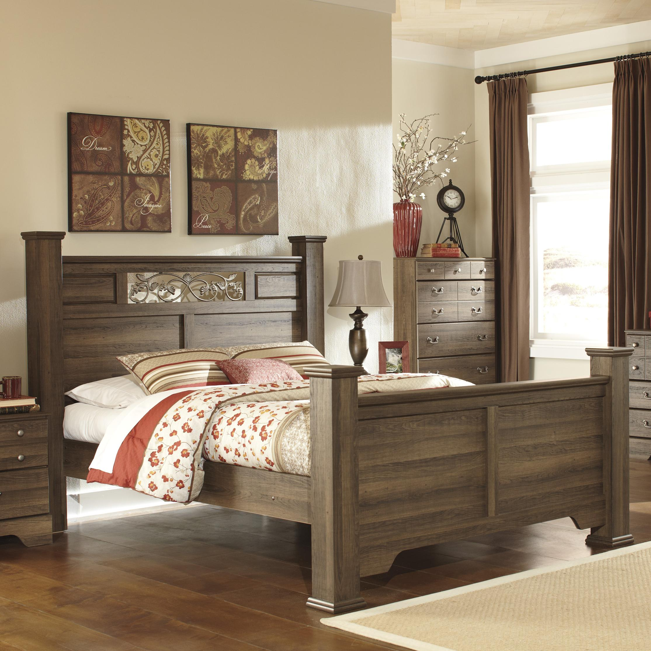 Allymore Queen Poster Bed With Scrolled Accents At Del Sol Furniture