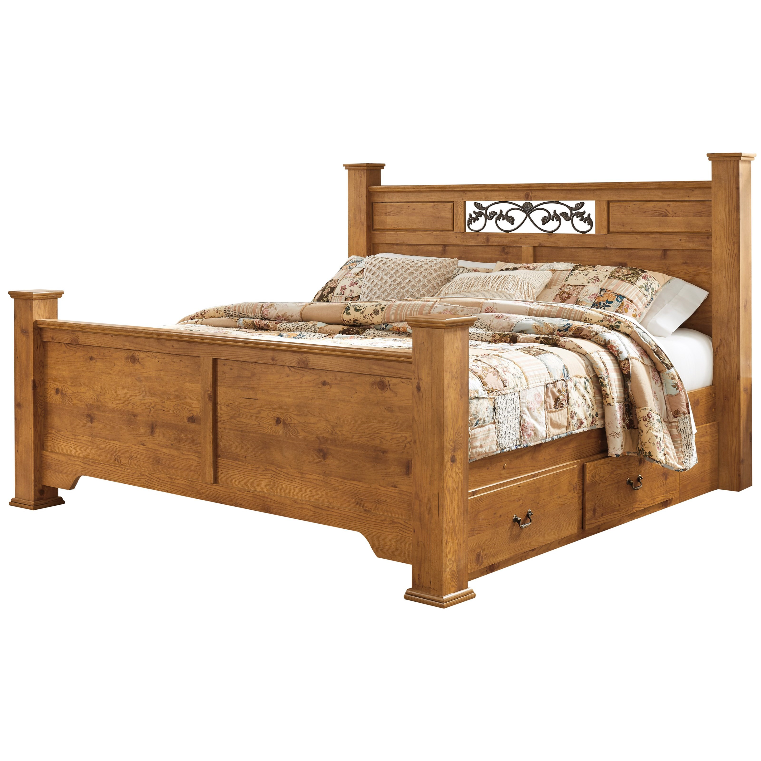 Signature Design By Ashley Bittersweet King Poster Panel Bed With Under Bed Storage Furniture