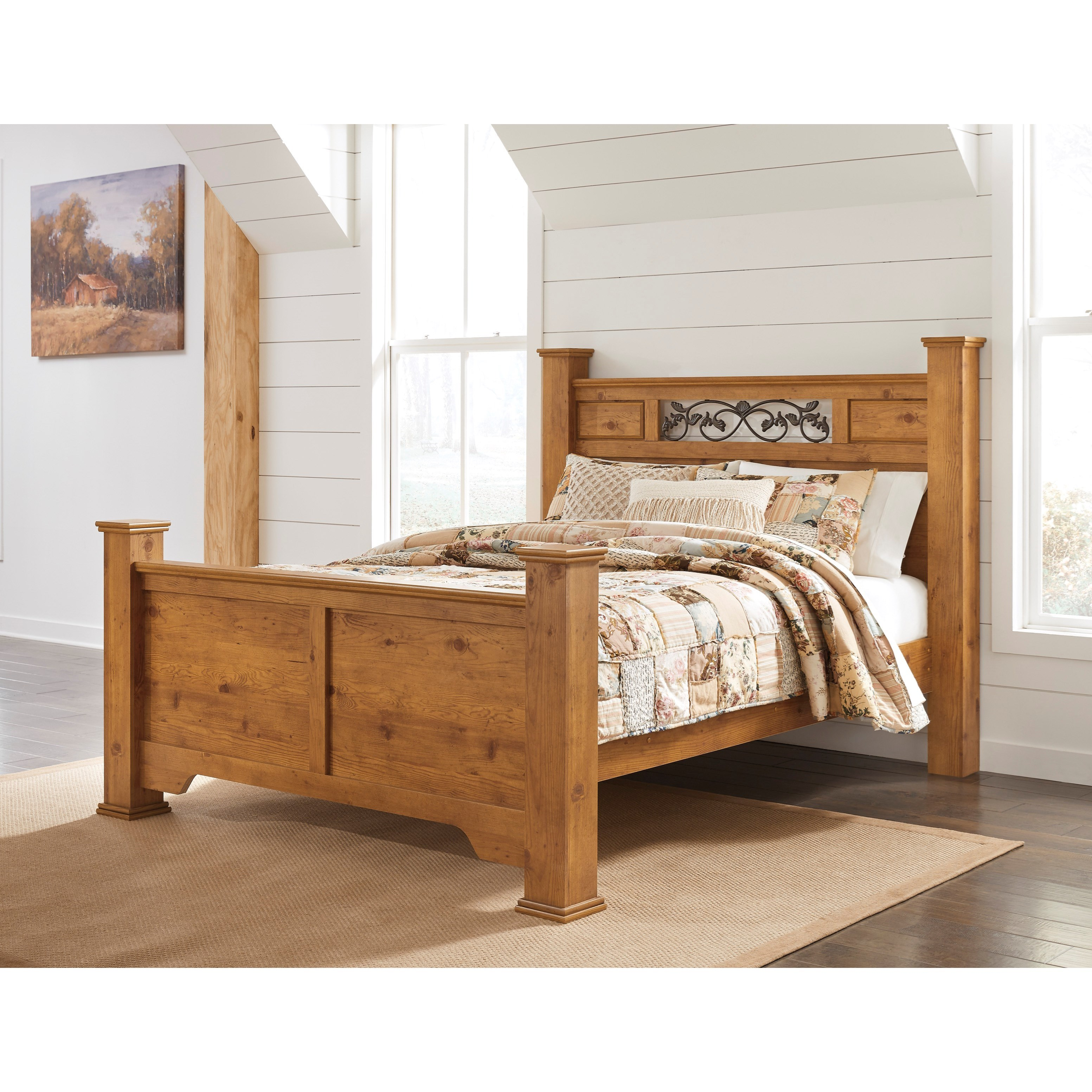 Bittersweet Queen Poster Bed With Scrolled Accents Rotmans Panel Beds
