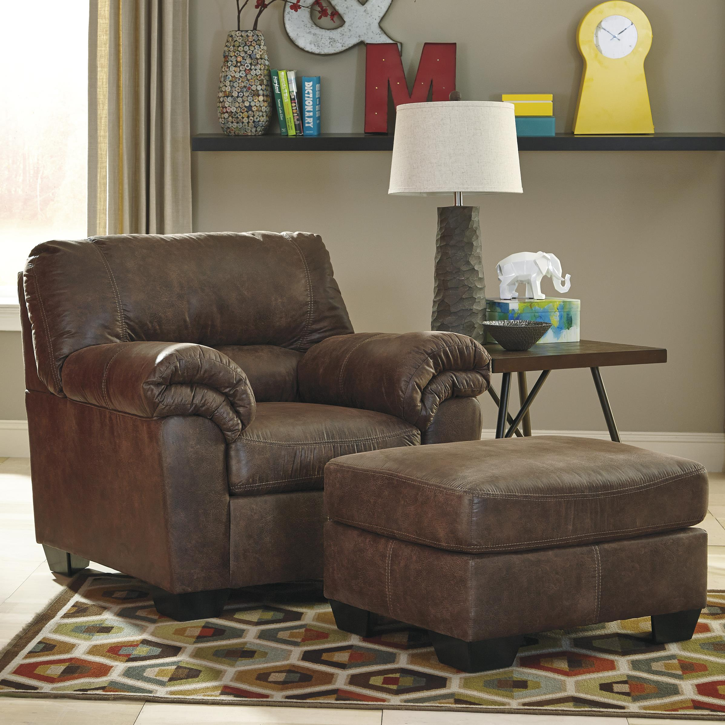 Ashley Signature Design Bladen Casual Faux Leather Chair Ottoman Dunk Bright Furniture