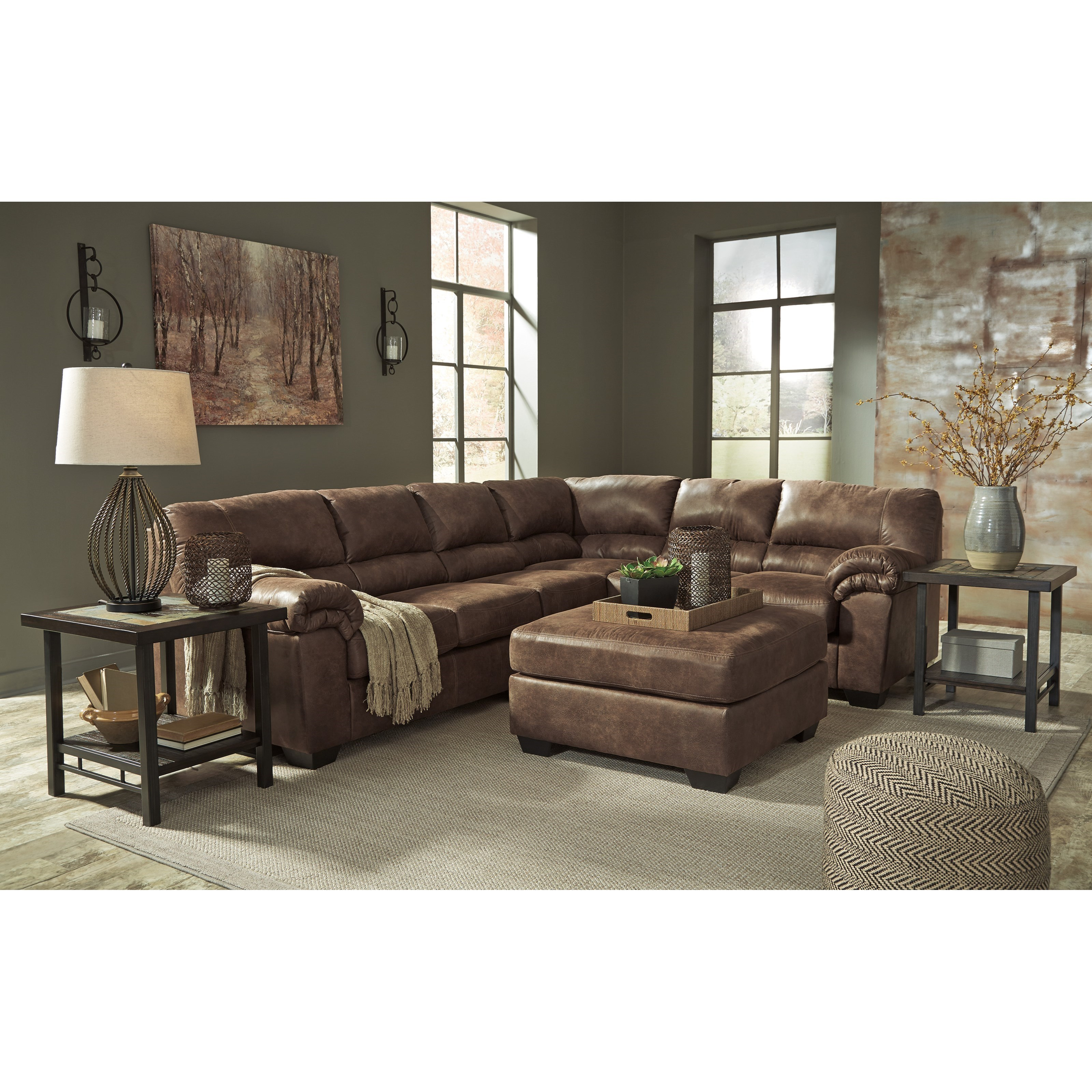 Signature Design By Ashley Bladen 3 Piece Faux Leather Sectional John V Schultz Furniture