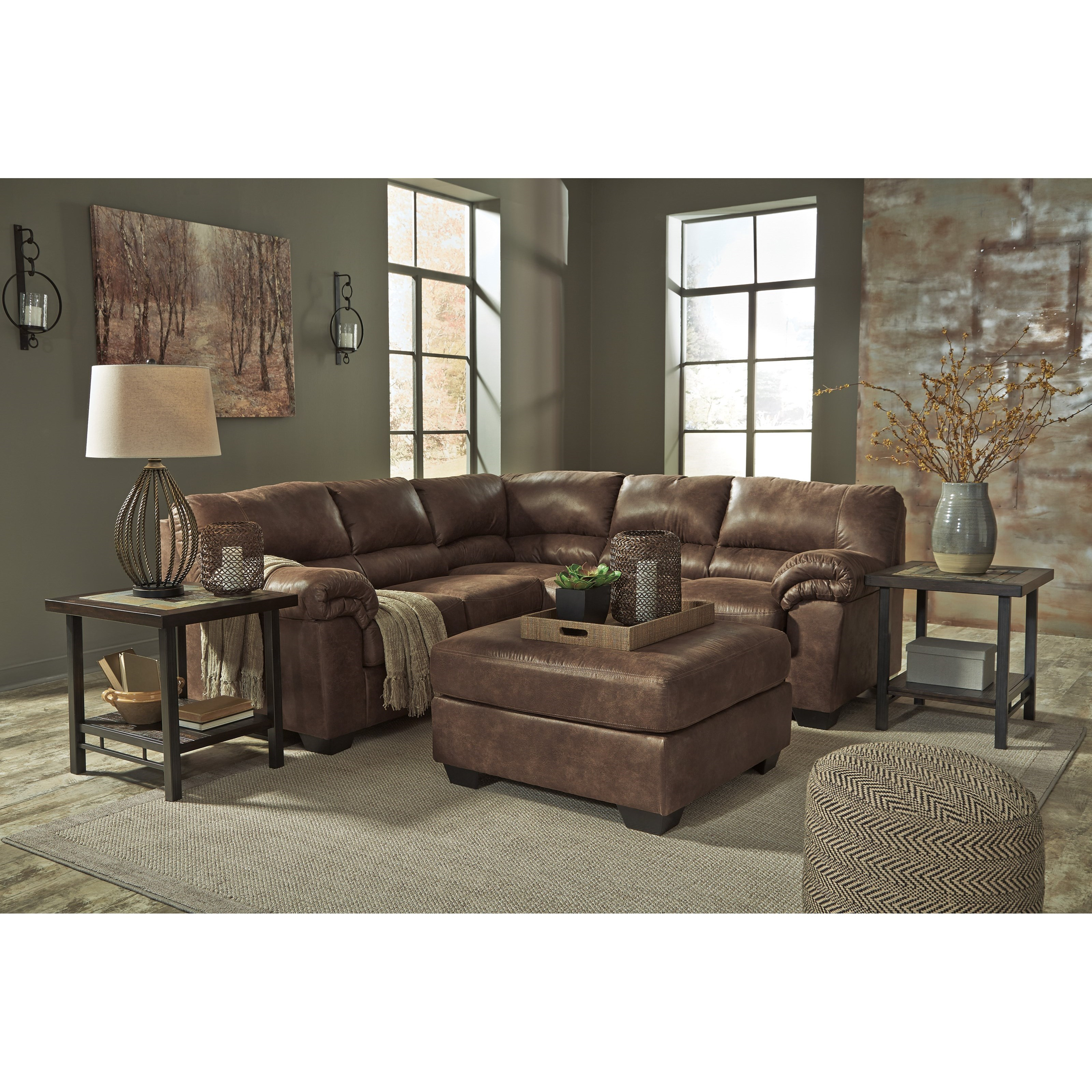 ashley signature design bladen 2 piece faux leather sectional dunk bright furniture. Black Bedroom Furniture Sets. Home Design Ideas