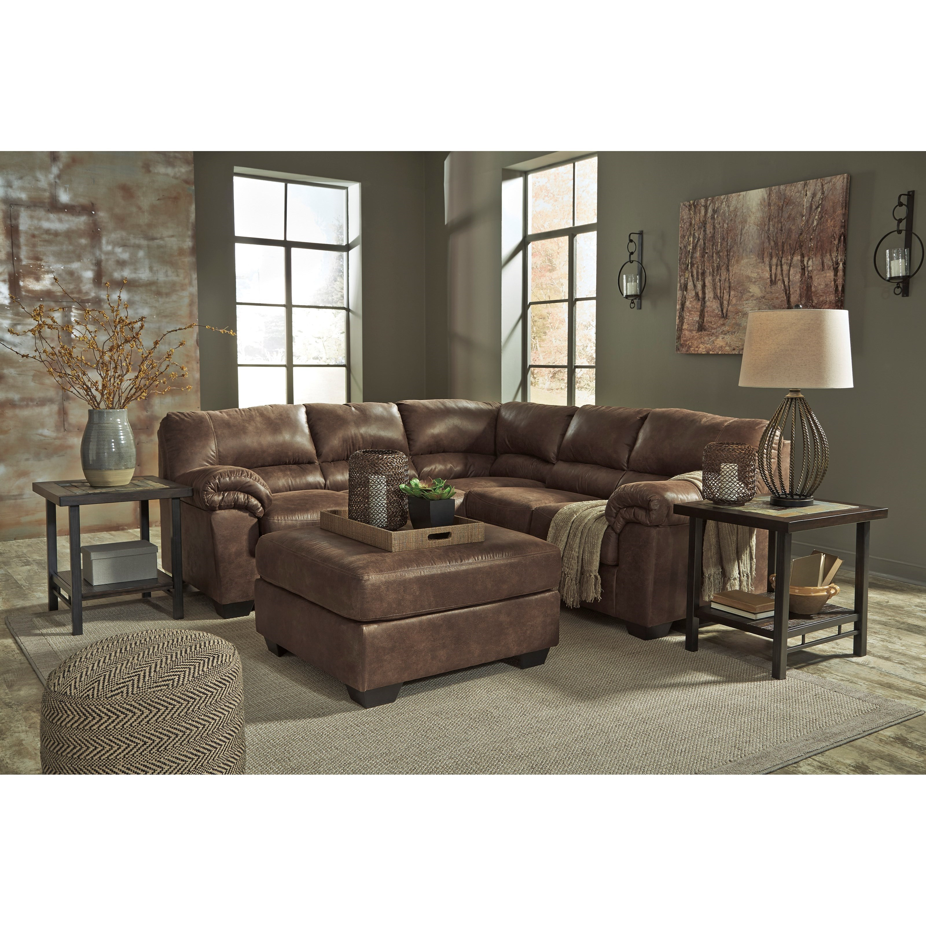 Signature Design By Ashley Bladen Two Piece Faux Leather Sectional Household Furniture