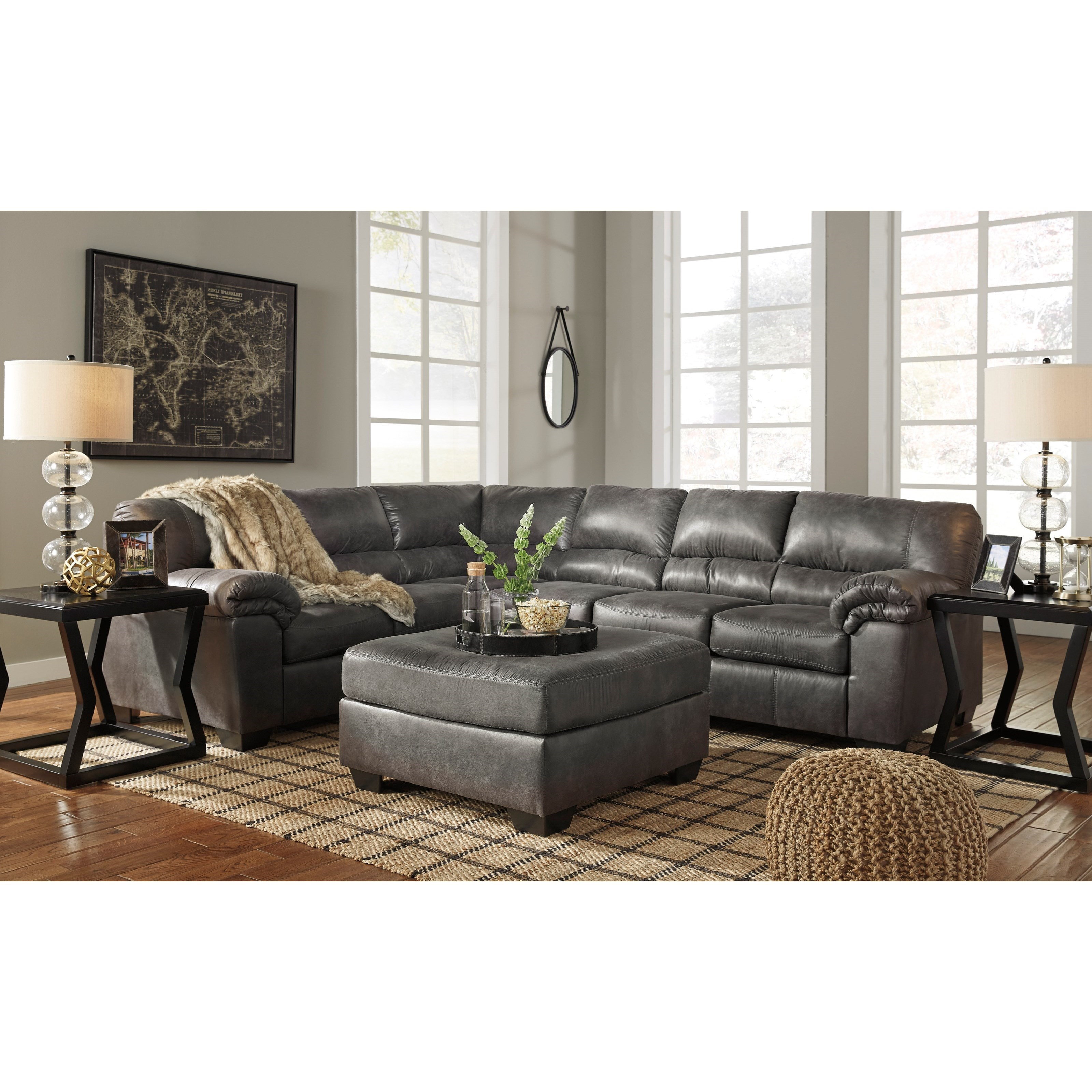 Signature Design By Ashley Bladen 3 Piece Faux Leather Sectional Household Furniture