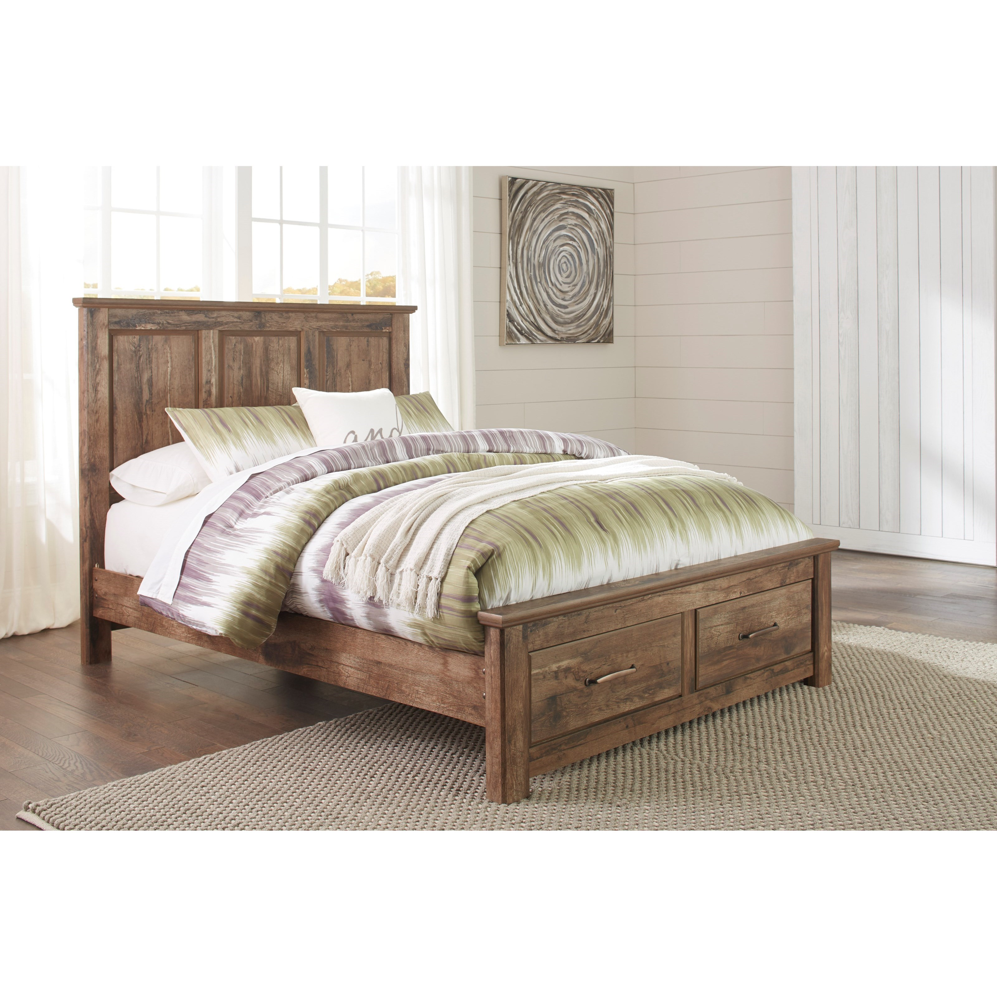 Ashley Signature Design Blaneville Rustic Style Queen Panel Storage Bed Dunk Bright