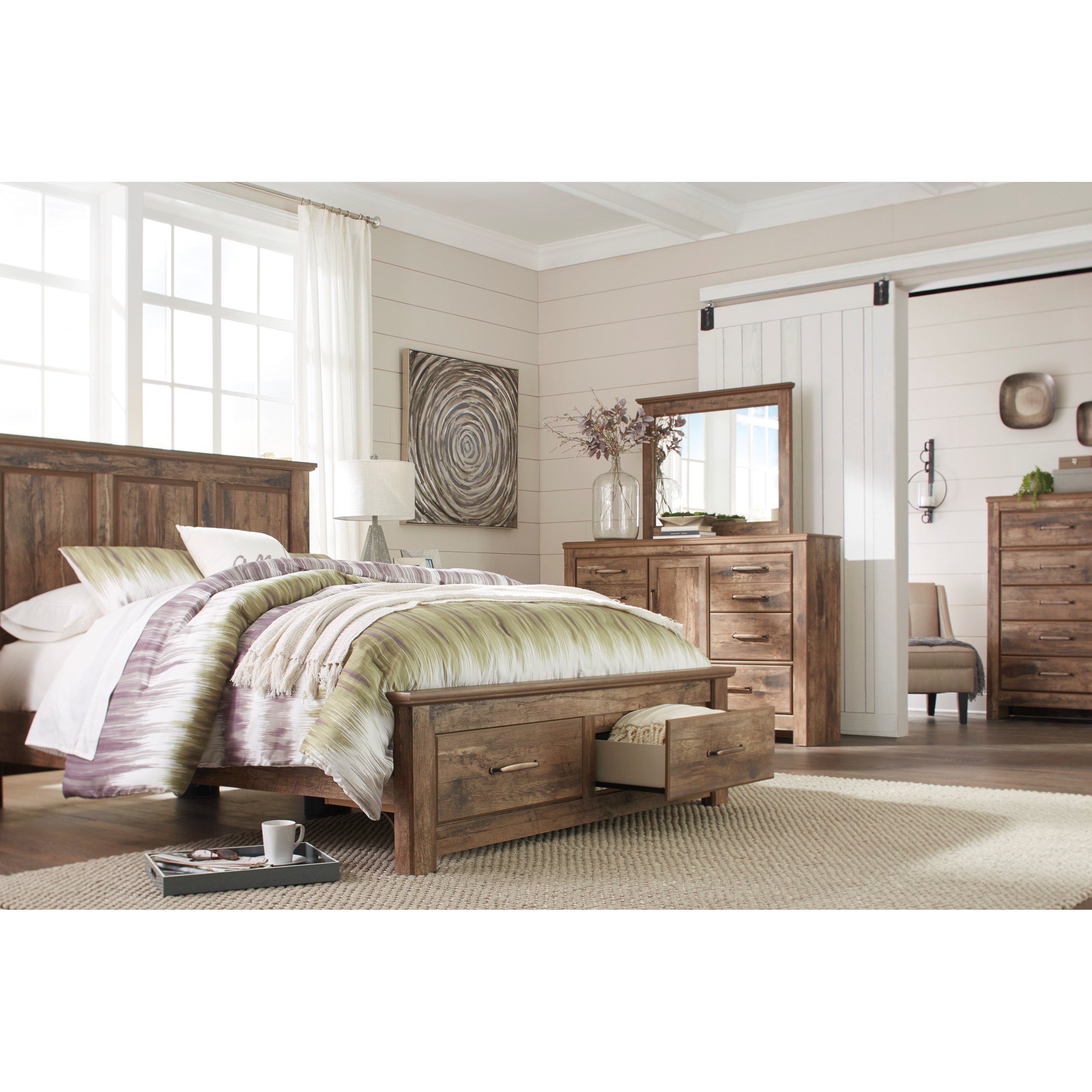 Signature Design By Ashley Blaneville Rustic Style Queen Panel Storage Bed Furniture And