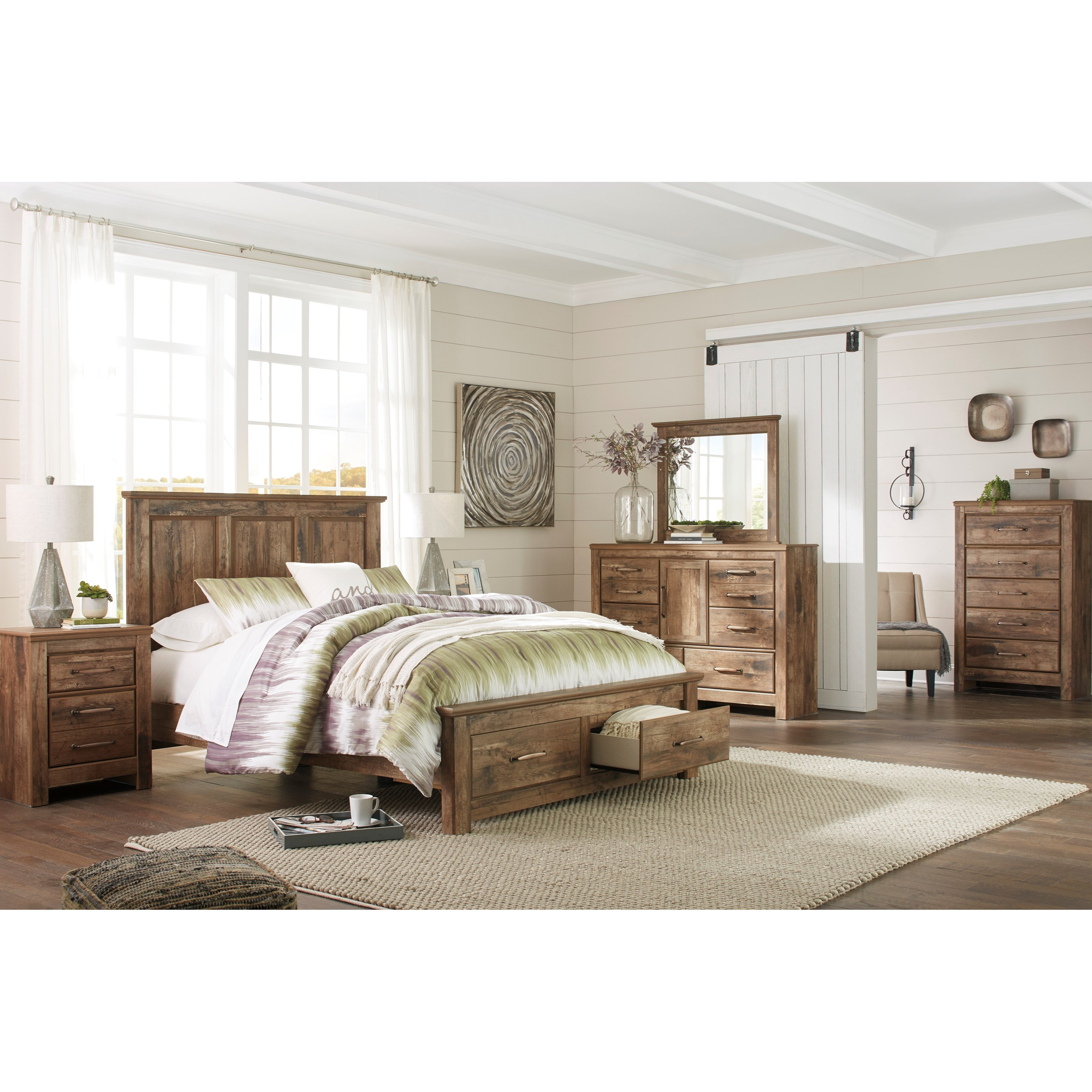 Signature Design By Ashley Blaneville Rustic Style Queen Panel Storage Bed Value City