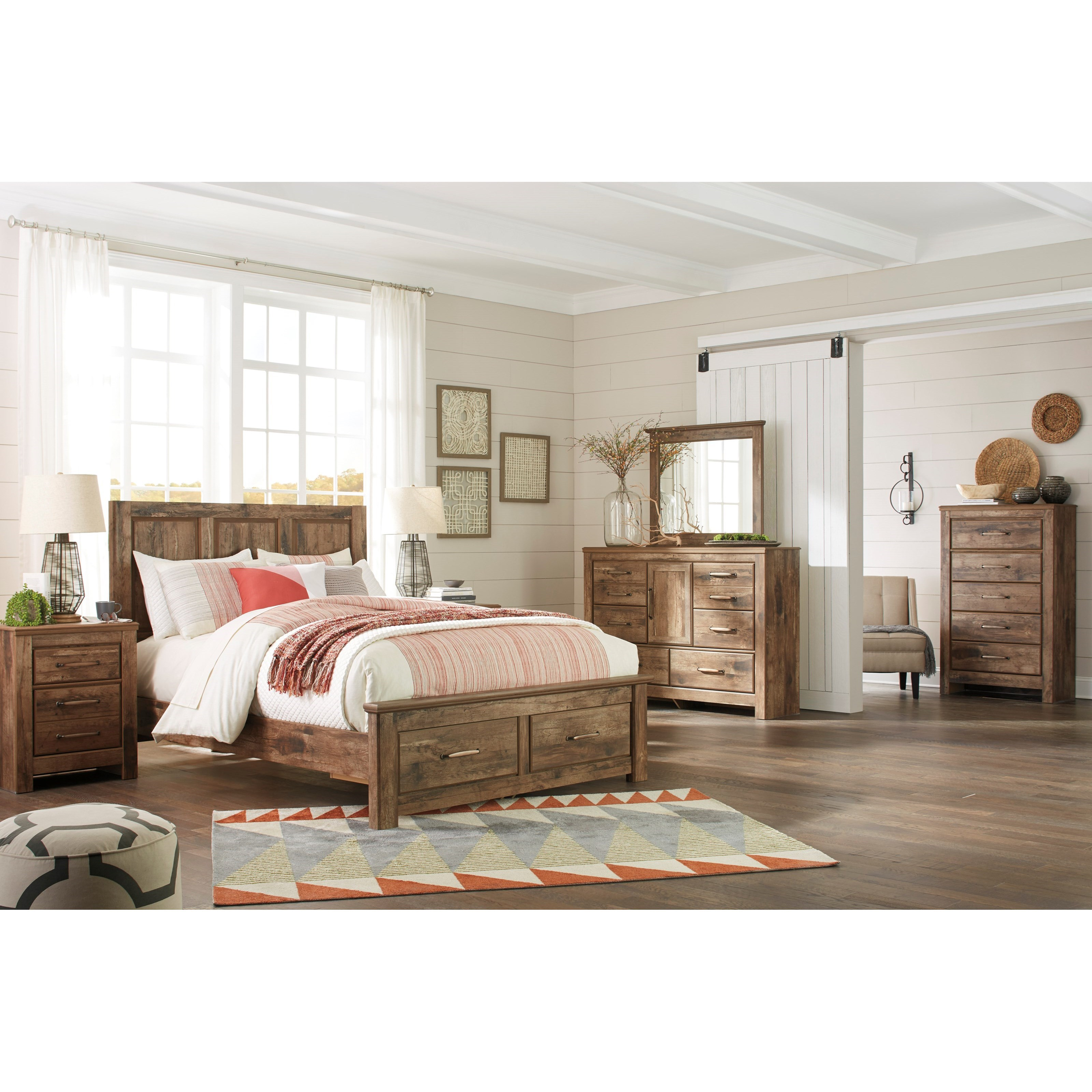 Signature Design By Ashley Blaneville Rustic Style Queen Panel Storage Bed Beck 39 S Furniture