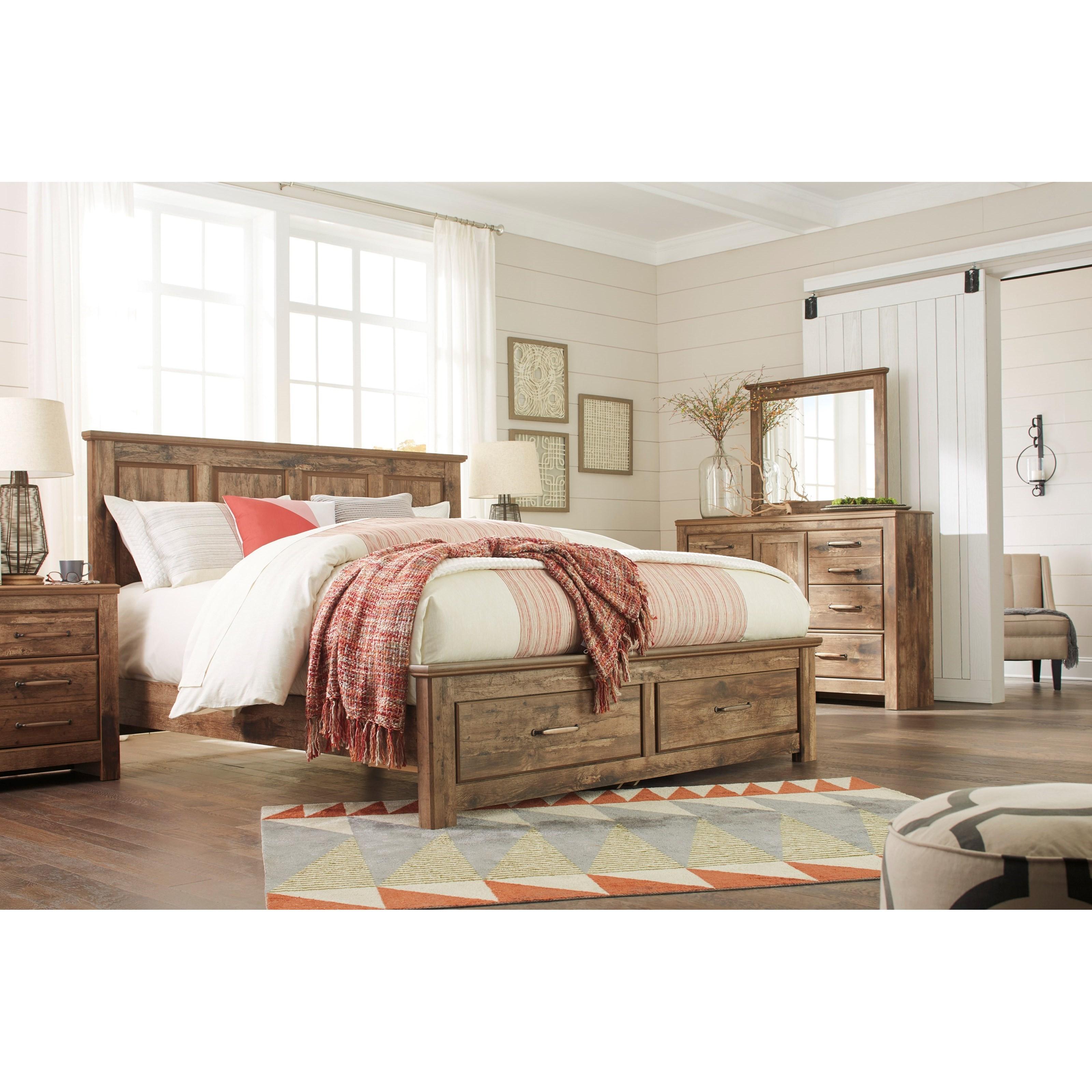 Ashley Signature Design Blaneville King Panel Storage Bed Dunk Bright Furniture Platform