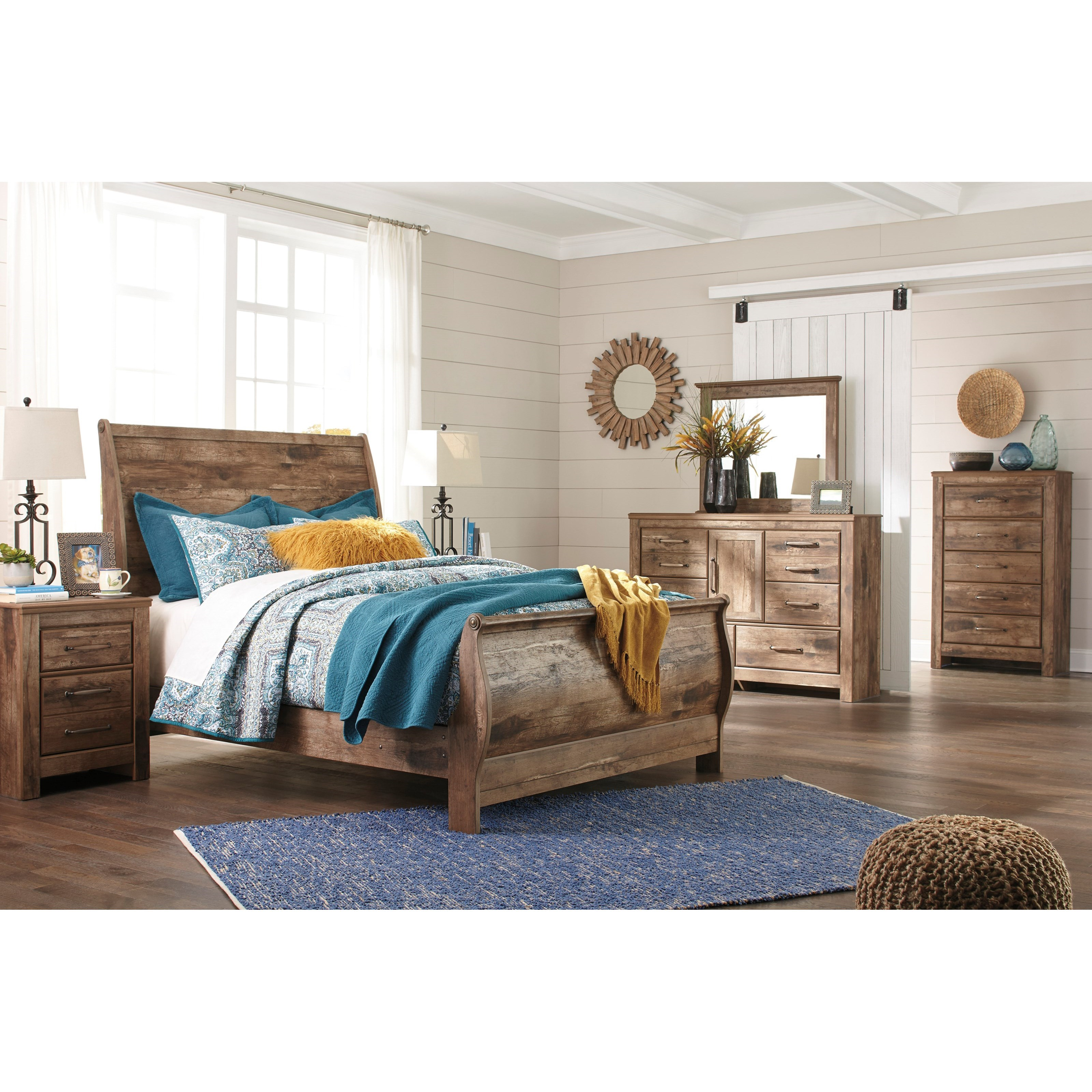 Ashley Signature Design Blaneville Rustic Style Queen Sleigh Bed Dunk Bright Furniture