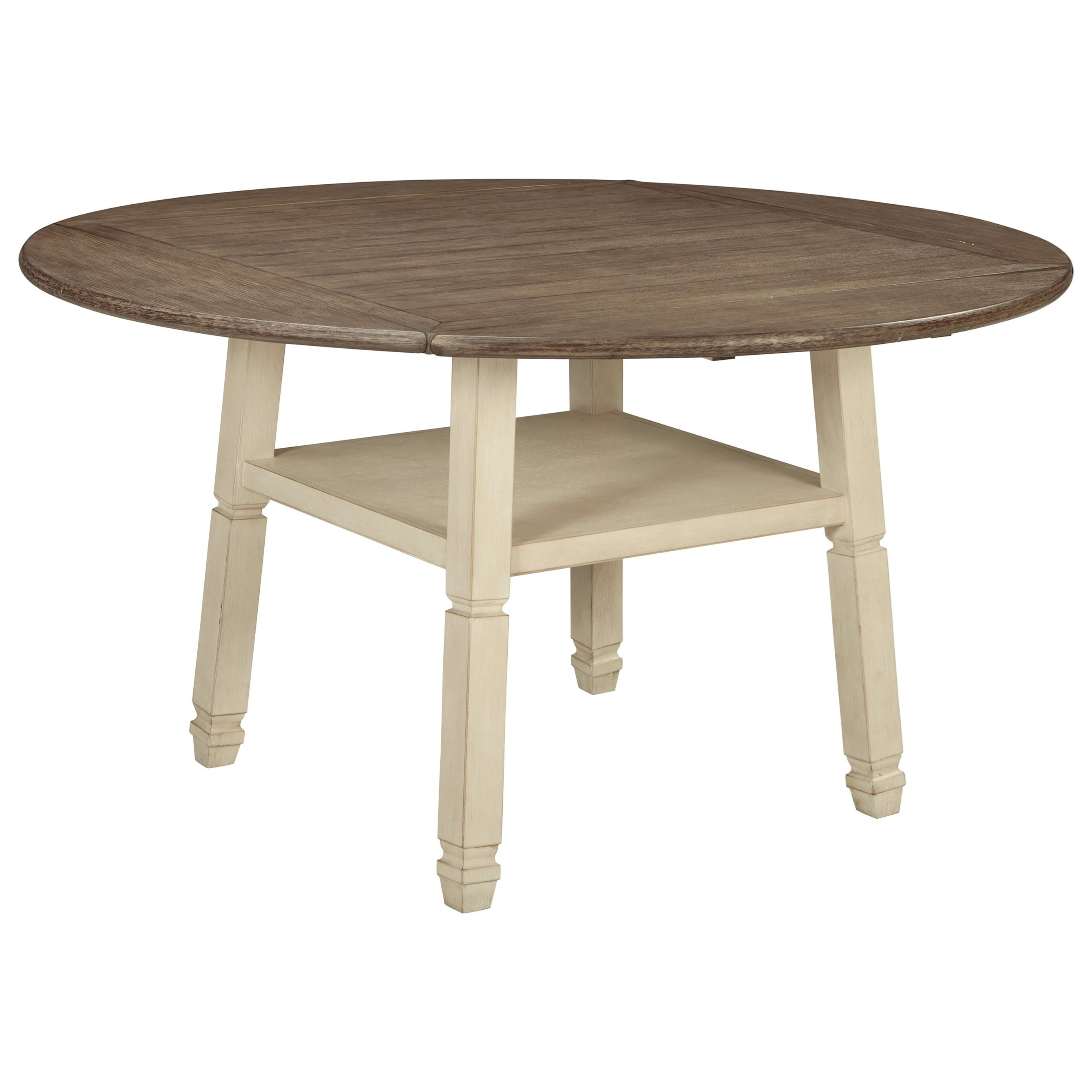 signature design by ashley bolanburg square round drop leaf counter table with shelf value. Black Bedroom Furniture Sets. Home Design Ideas