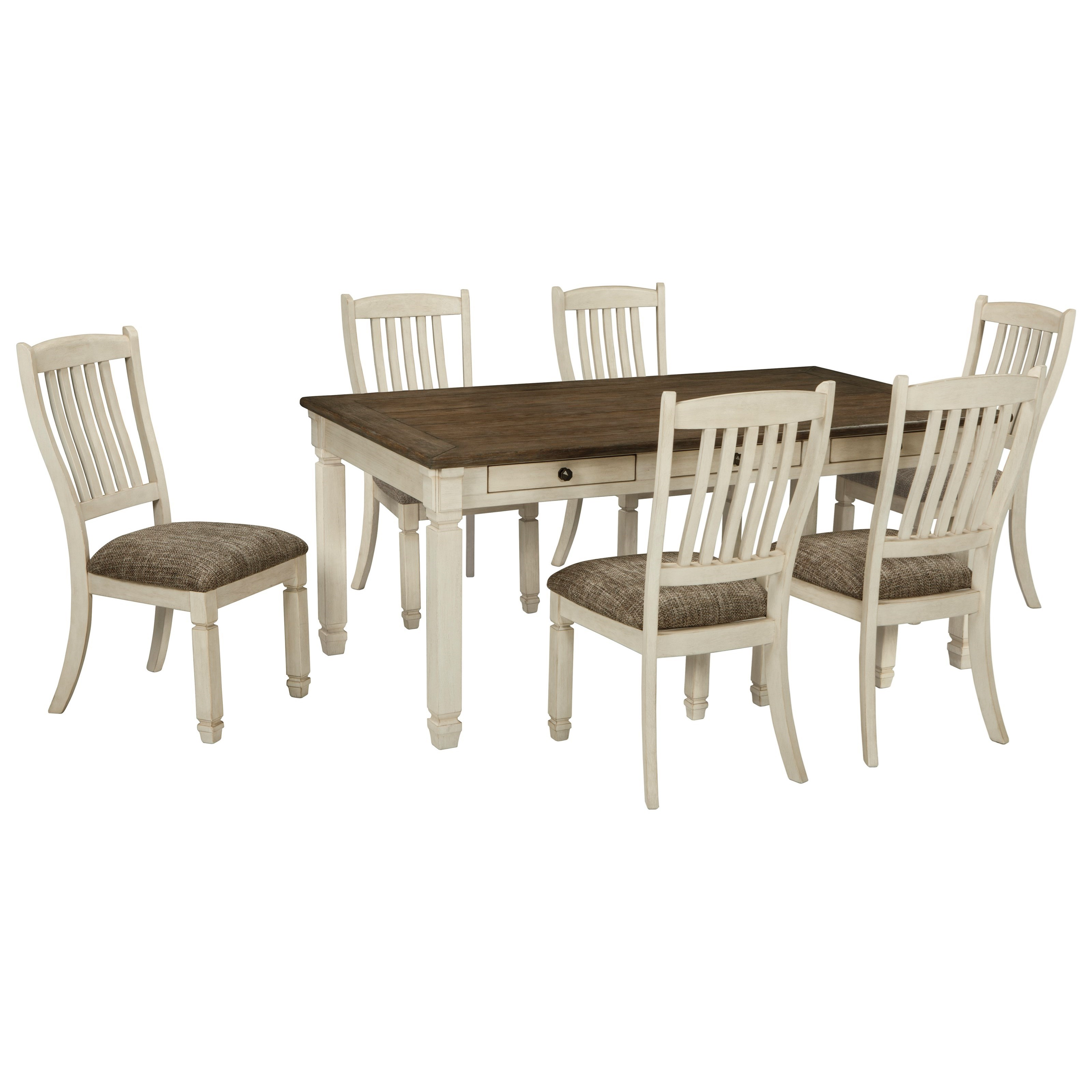Bolanburg relaxed vintage 7 piece table and chair set for 7 piece dining set with bench