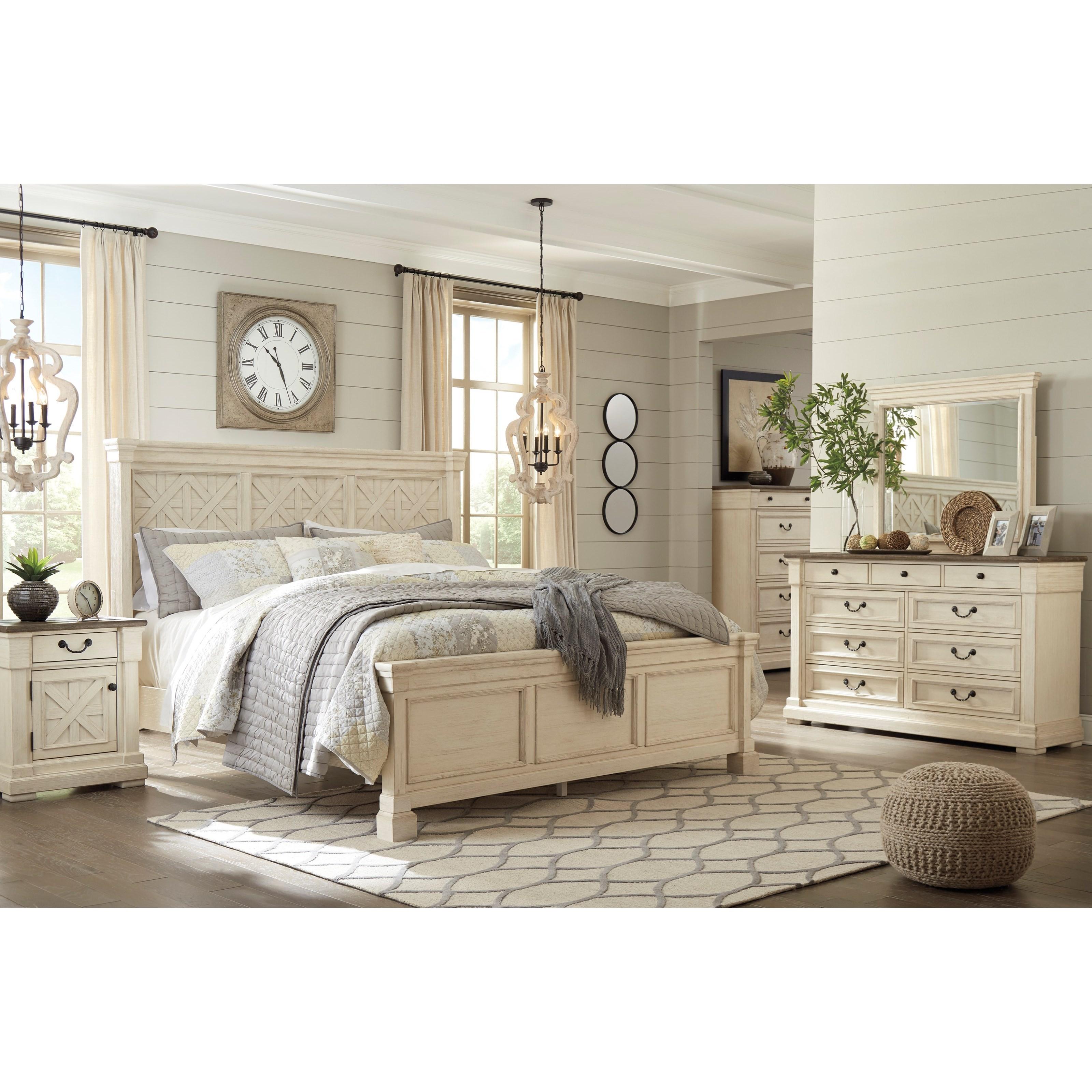 Ashley Signature Design Bolanburg Two Tone Dresser Bedroom Mirror Dunk Bright Furniture