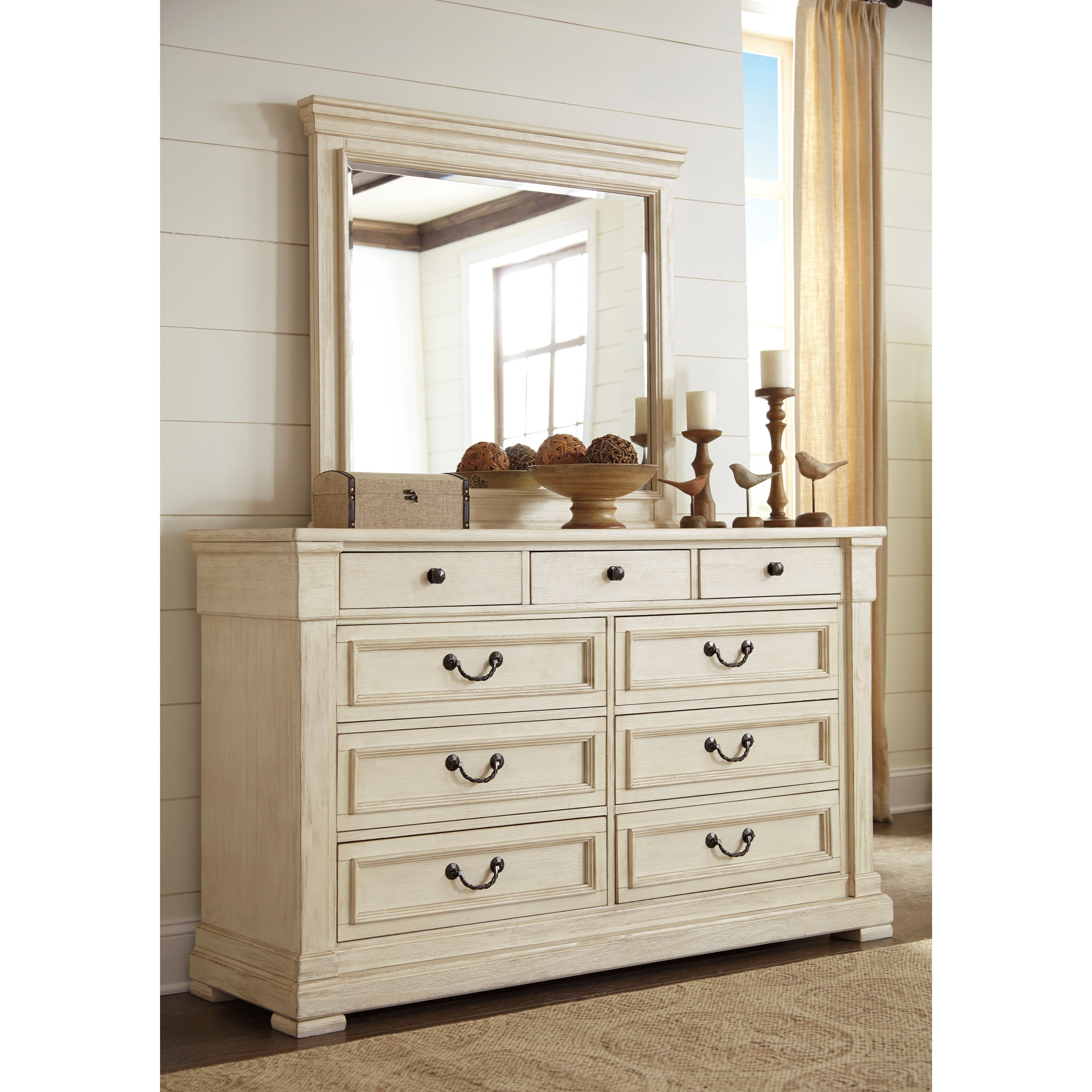 Signature Design by Ashley Bolanburg Bedroom Mirror Household Furniture D