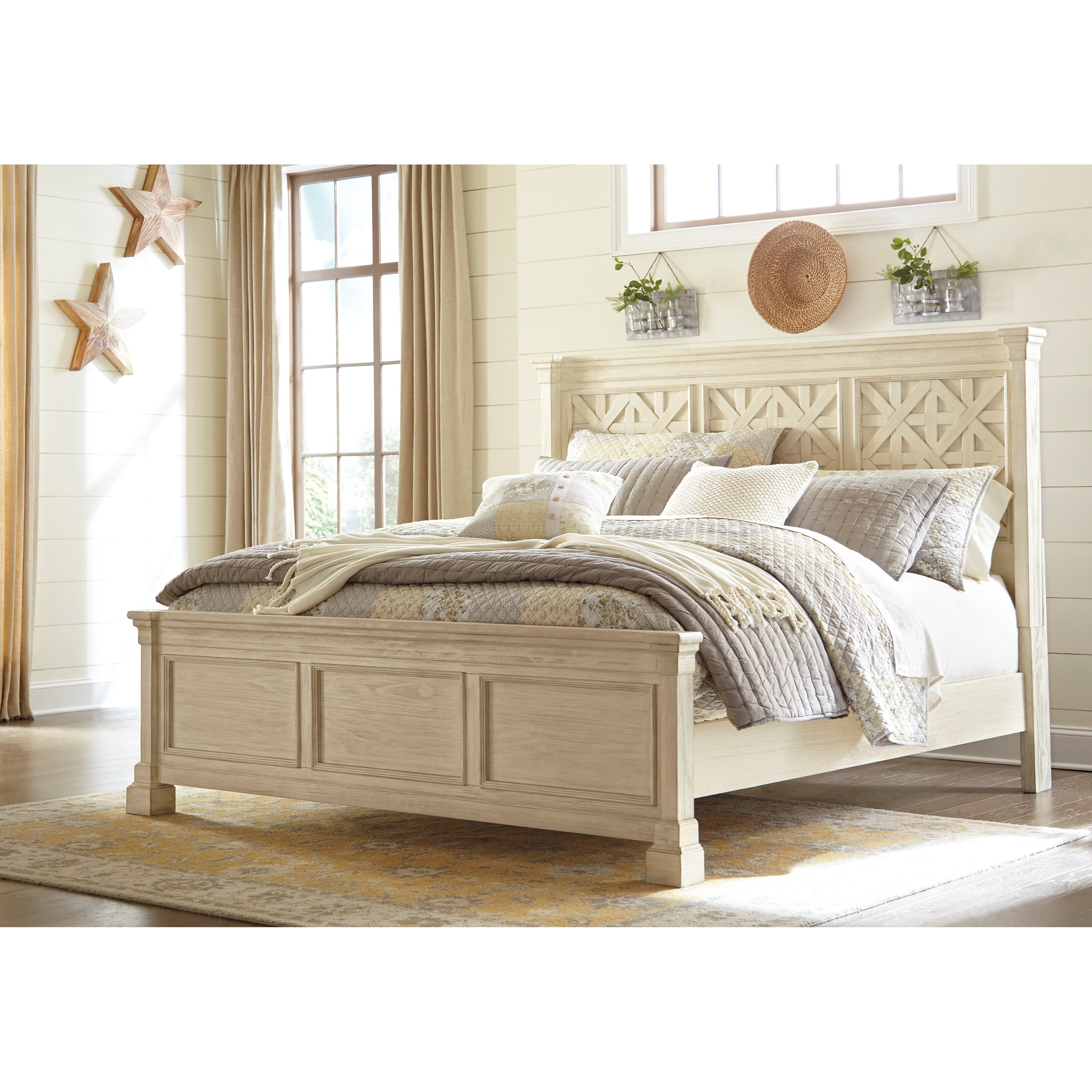 Signature design by ashley bolanburg queen panel bed with for Panel bed mattress