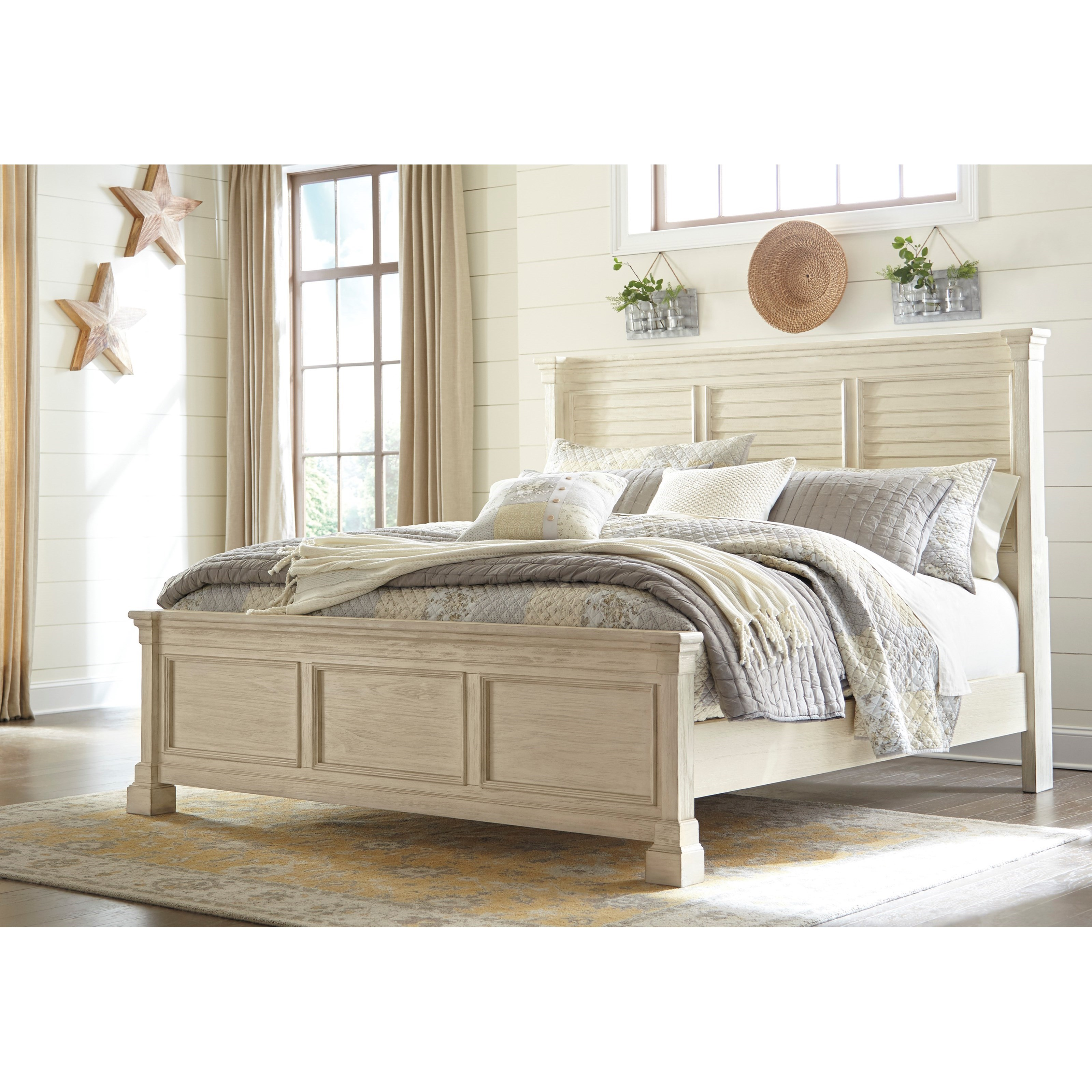 Signature design by ashley bolanburg king louvered for Panel bed mattress