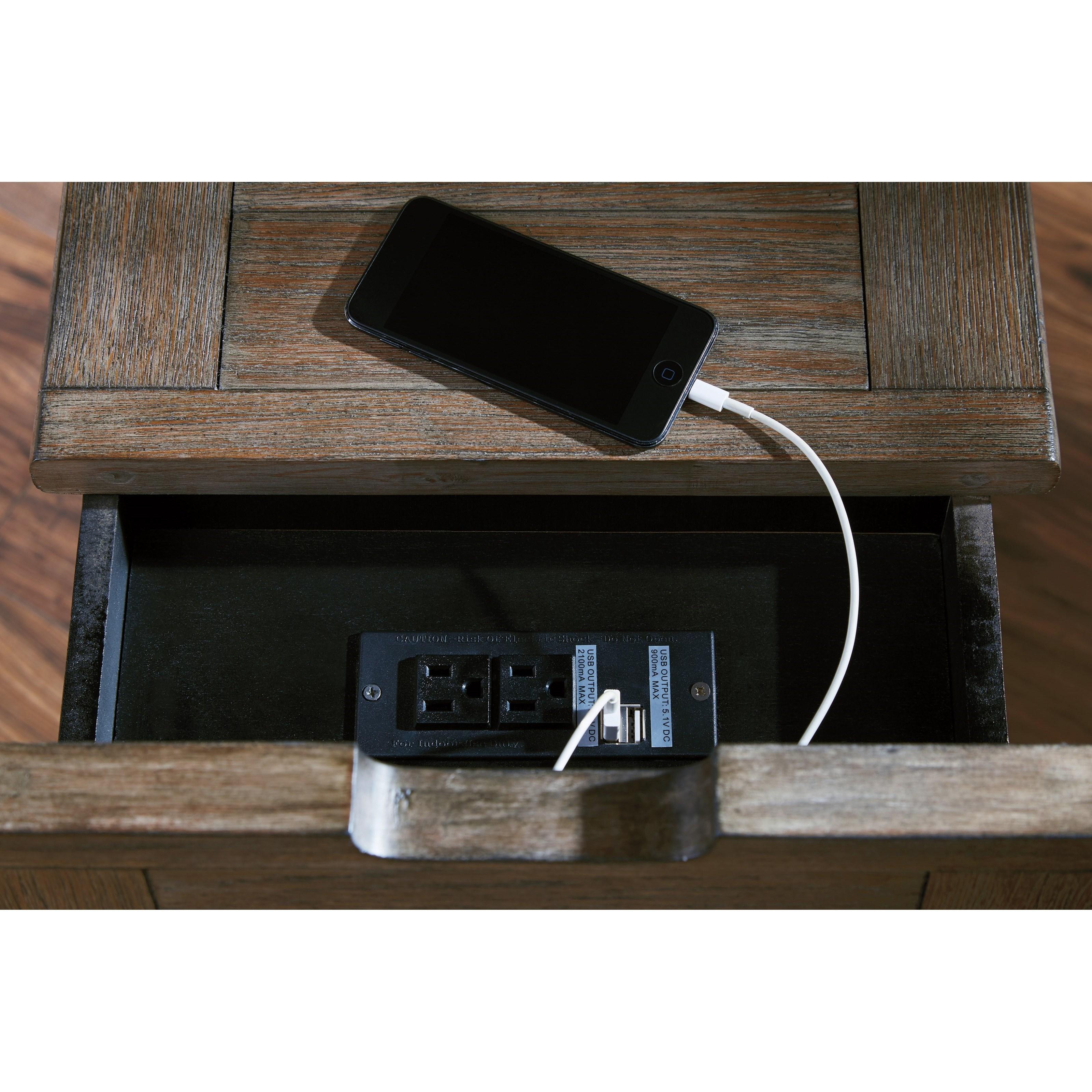 styleline klaus t736 7 chair side end table with outlet and usb ports efo furniture outlet. Black Bedroom Furniture Sets. Home Design Ideas