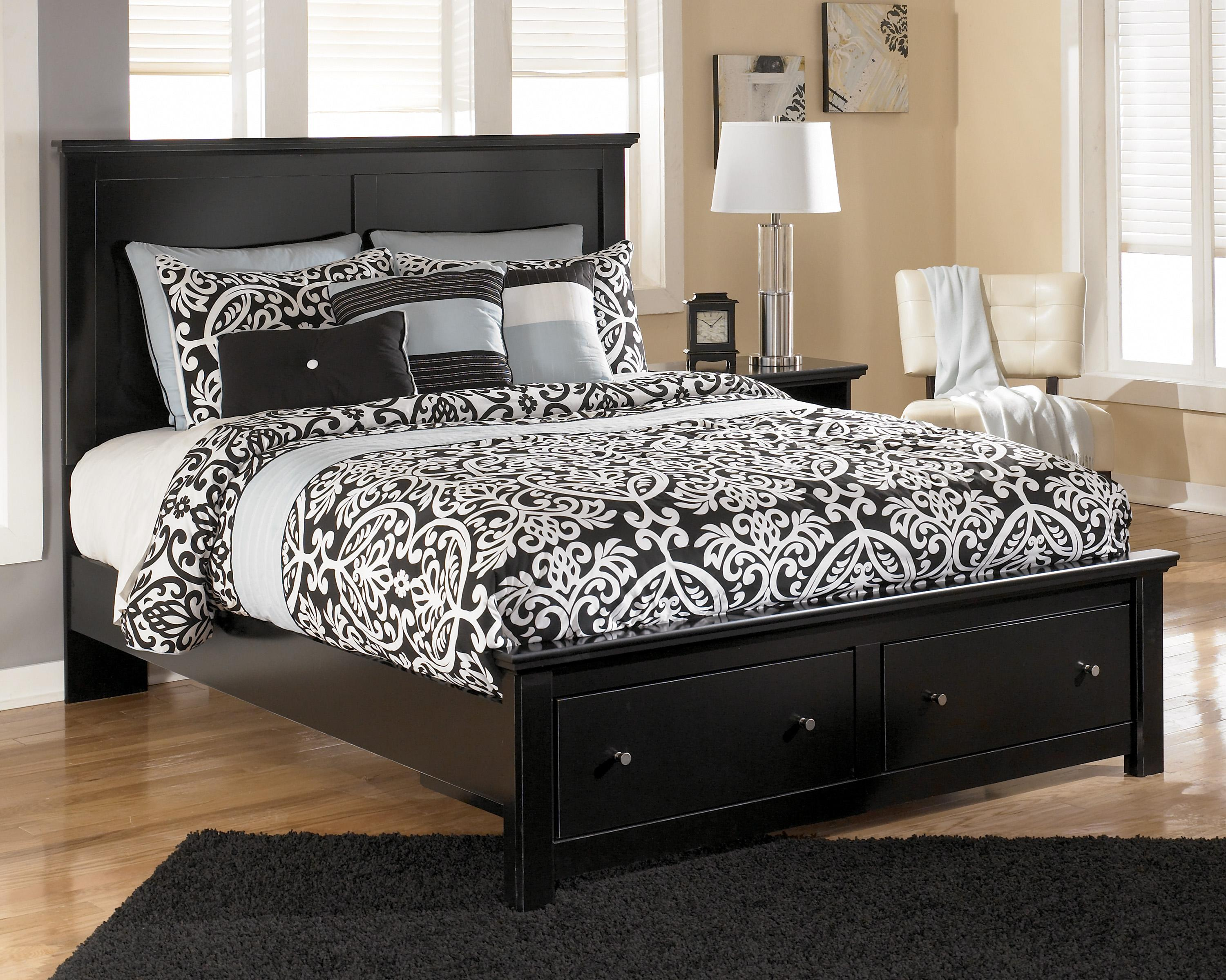 ashley signature design maribel b138 57 54s 95 b100 13 queen storage bed with 2 footboard. Black Bedroom Furniture Sets. Home Design Ideas