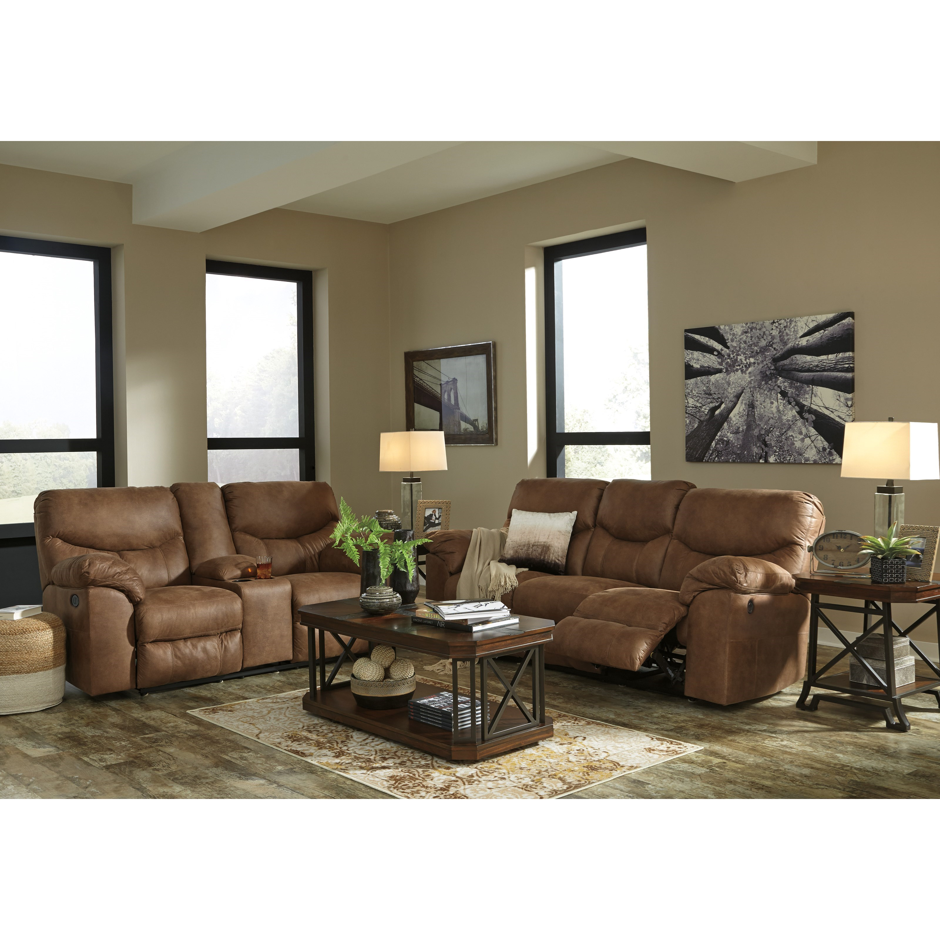 Signature design by ashley boxberg reclining living room for Living room furniture groups