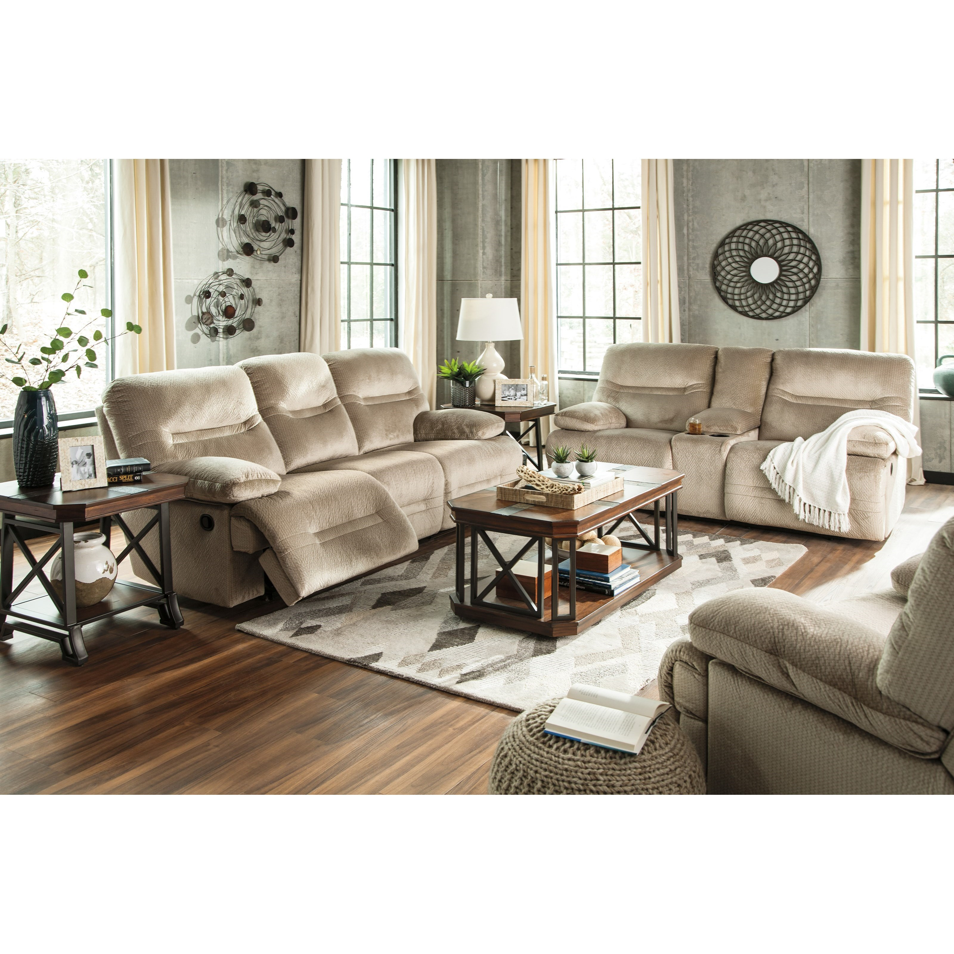 Signature design by ashley brayburn reclining living room for Living room furniture groups