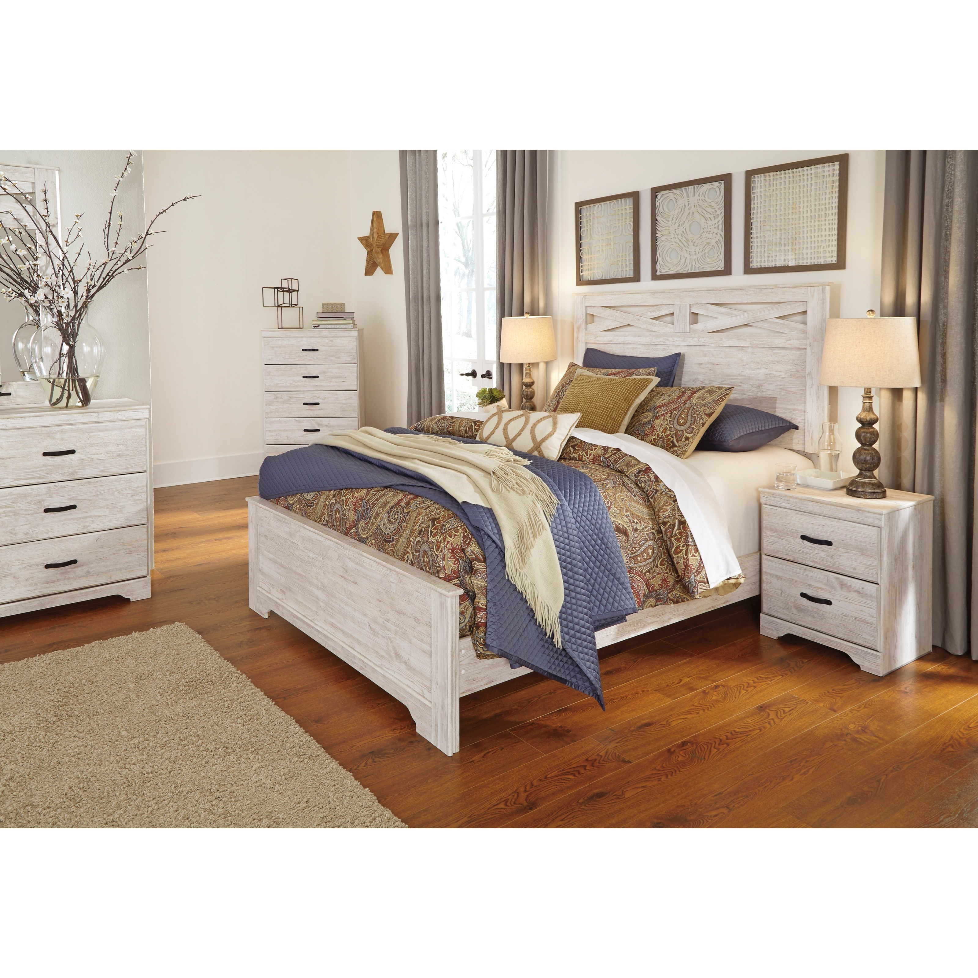 Signature Design By Ashley Briartown Queen Panel Bed In Rustic White Finish Houston 39 S Yuma