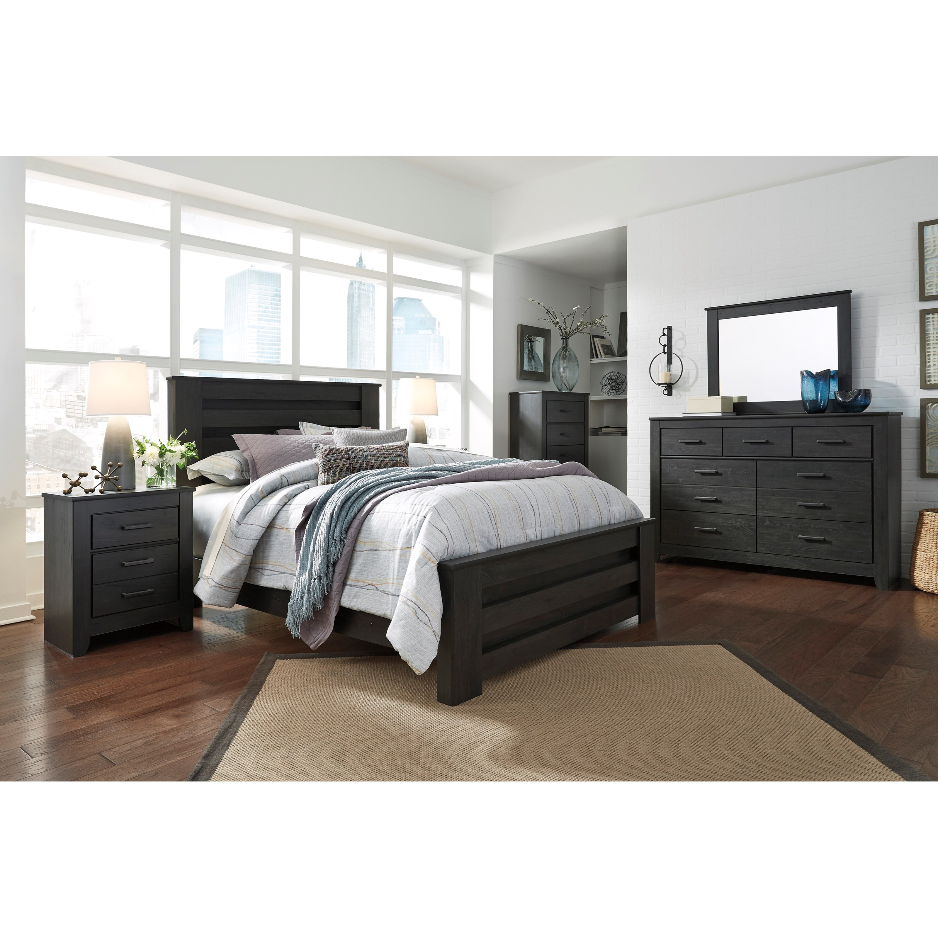 Signature design by ashley brinxton queen bedroom group for Bedroom furniture groups