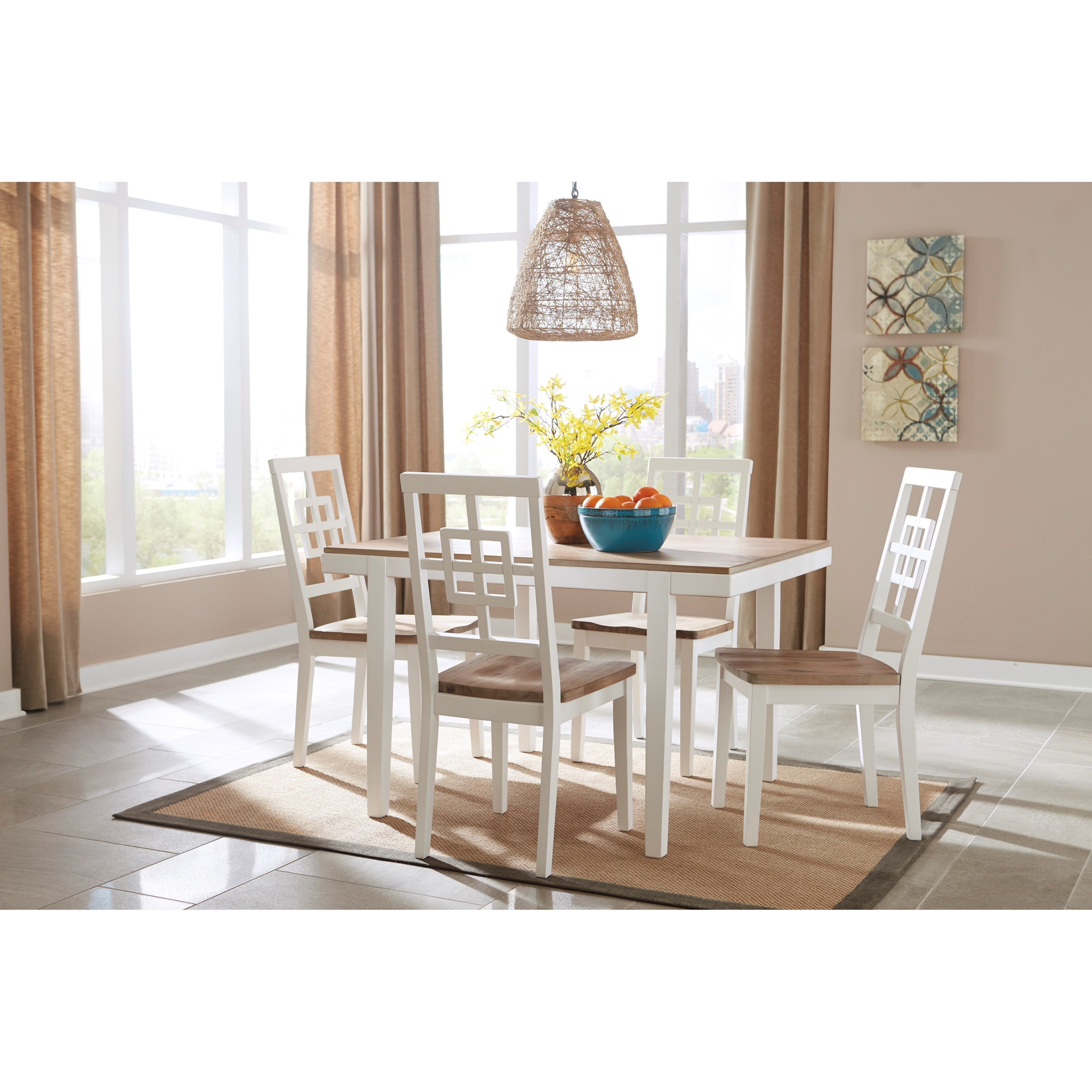 Signature design by ashley brovada contemporary white for Light colored dining room sets