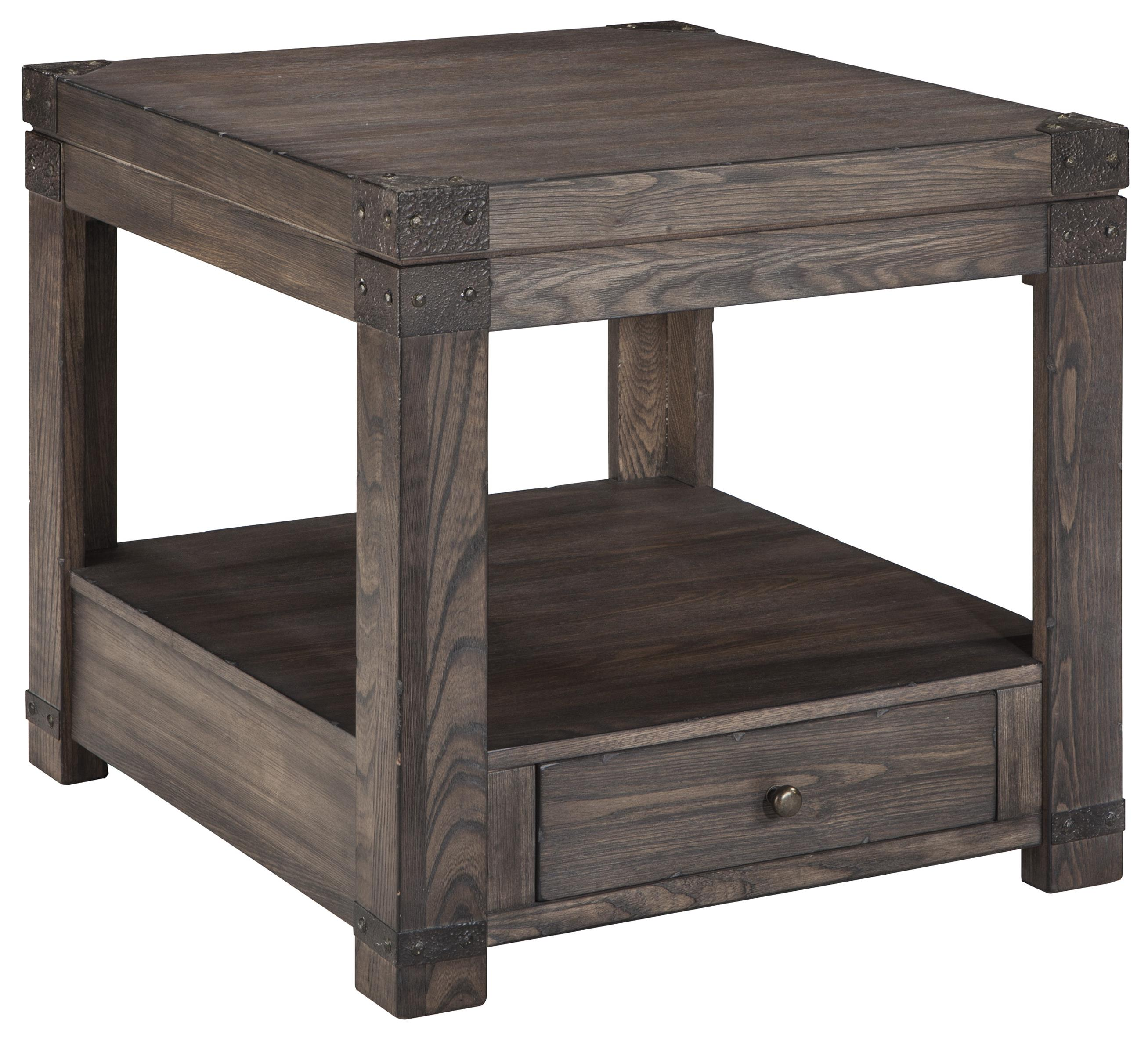 Ashley signature design burladen t846 3 elm veneer for Bright colored side tables