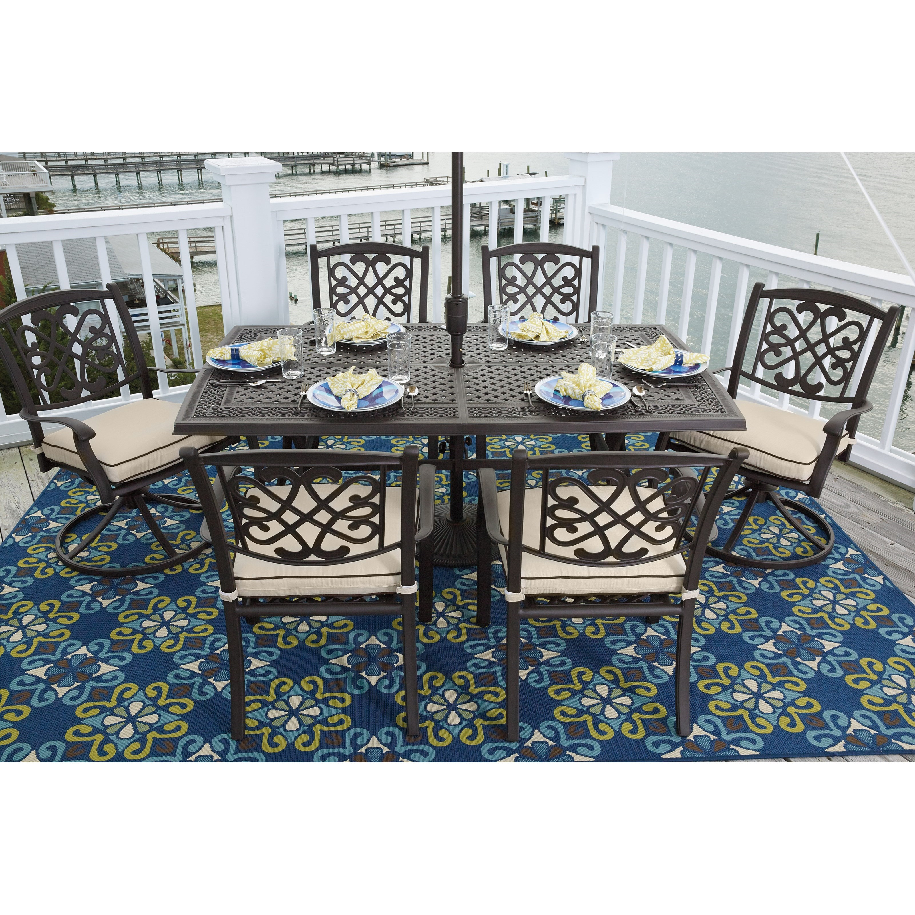 Ashley Signature Design Burnella Set of 4 Outdoor Chairs with Cushion Dunk