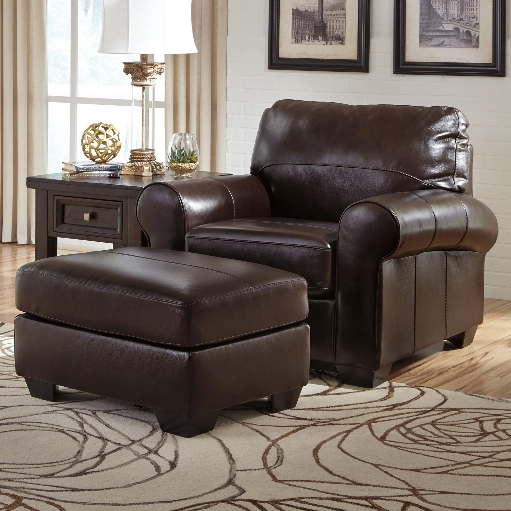 Signature Design By Ashley Canterelli Leather Match Chair Ottoman Furniture And