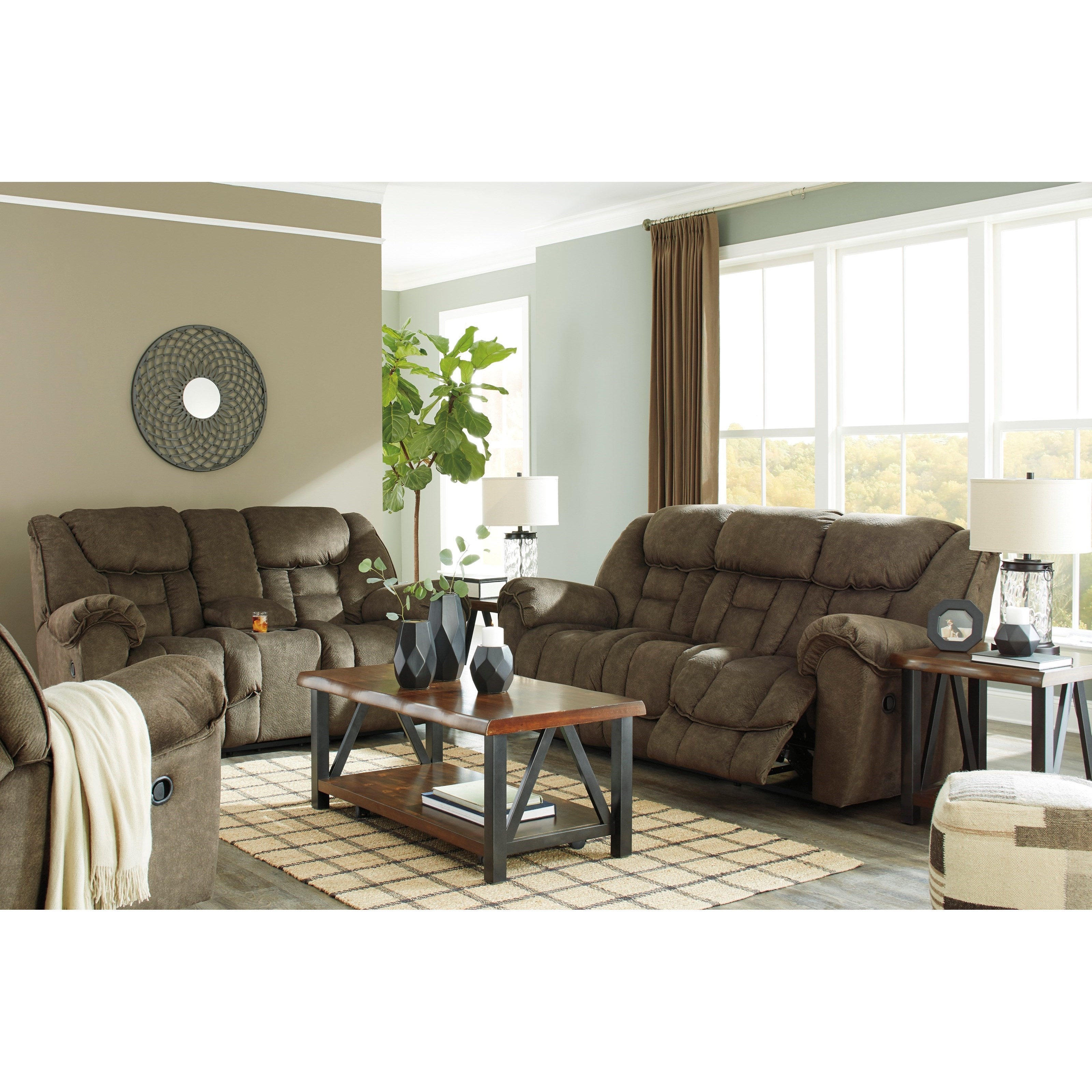 Signature design by ashley capehorn reclining living room for Living room furniture groups