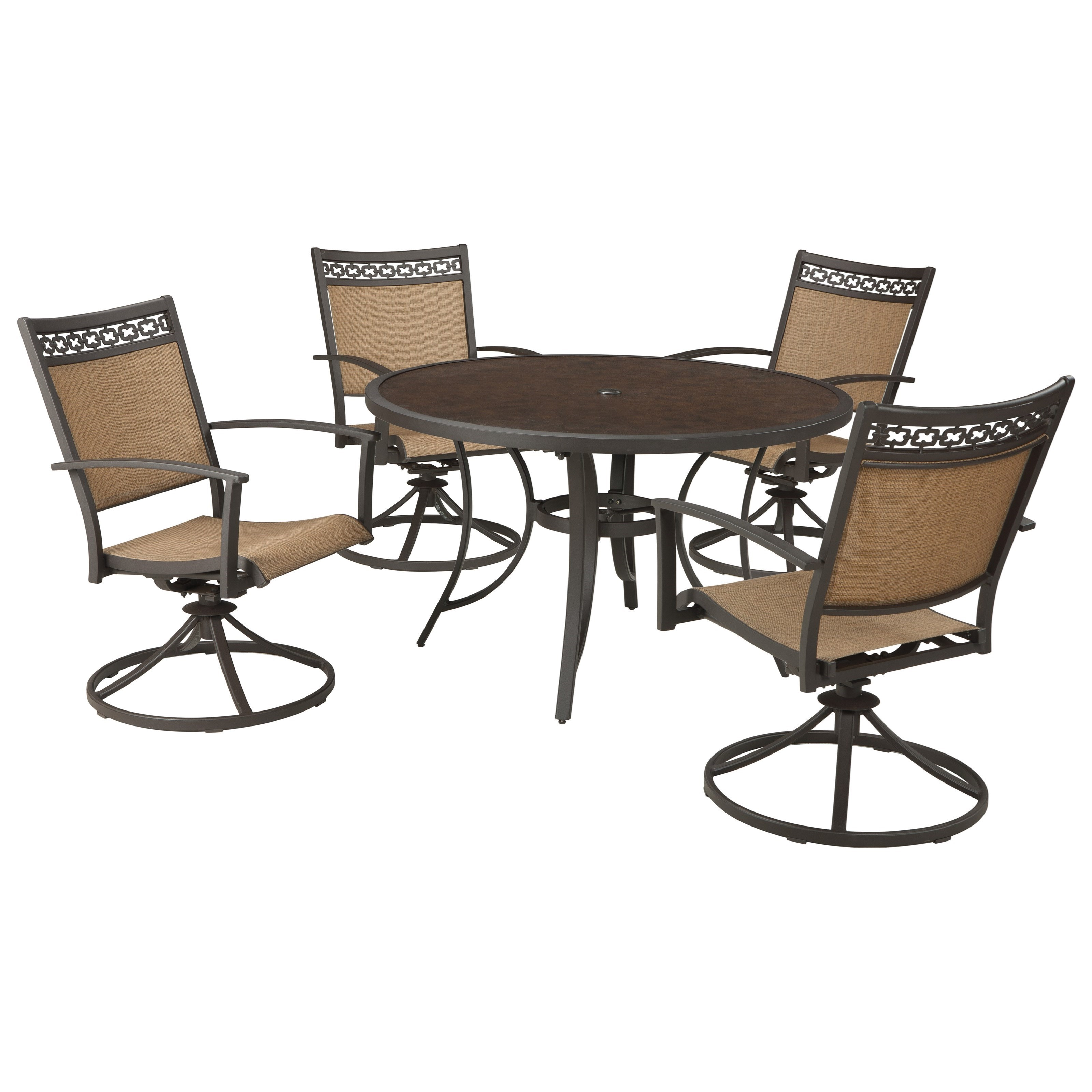 Signature Design by Ashley Carmadelia Outdoor Round Dining Table Set Del So