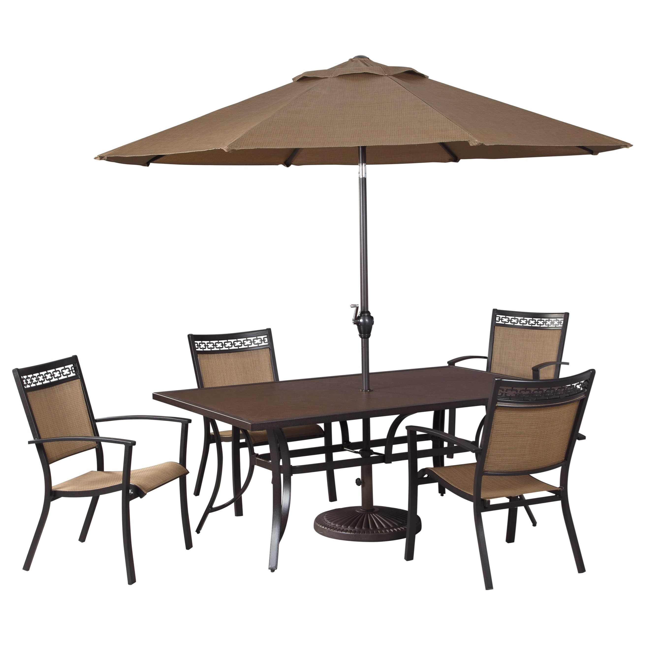 Signature Design by Ashley Carmadelia Outdoor Rectangular Dining Table Set w