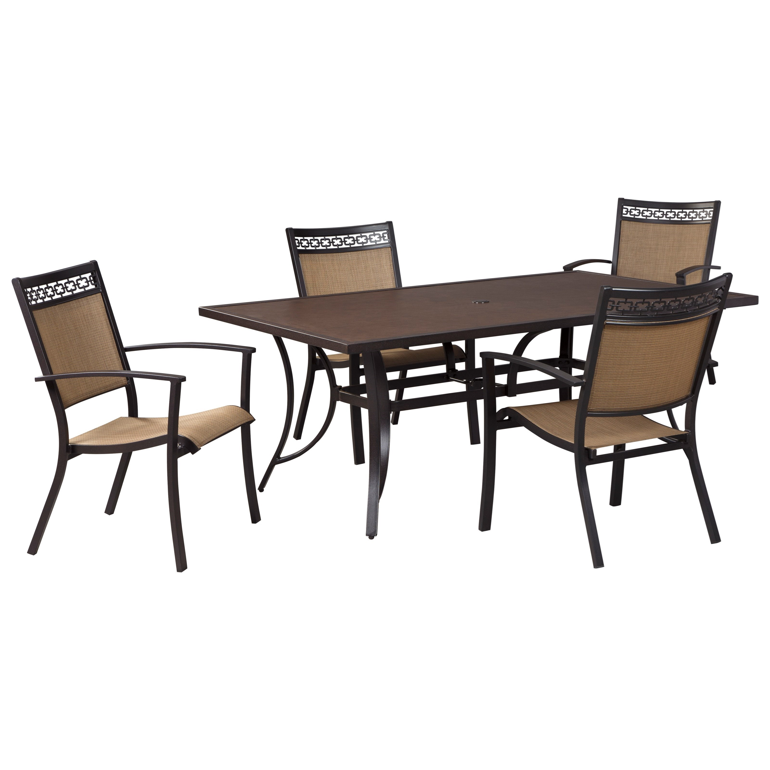 Ashley Signature Design Carmadelia Outdoor Rectangular Dining Table Set Dun