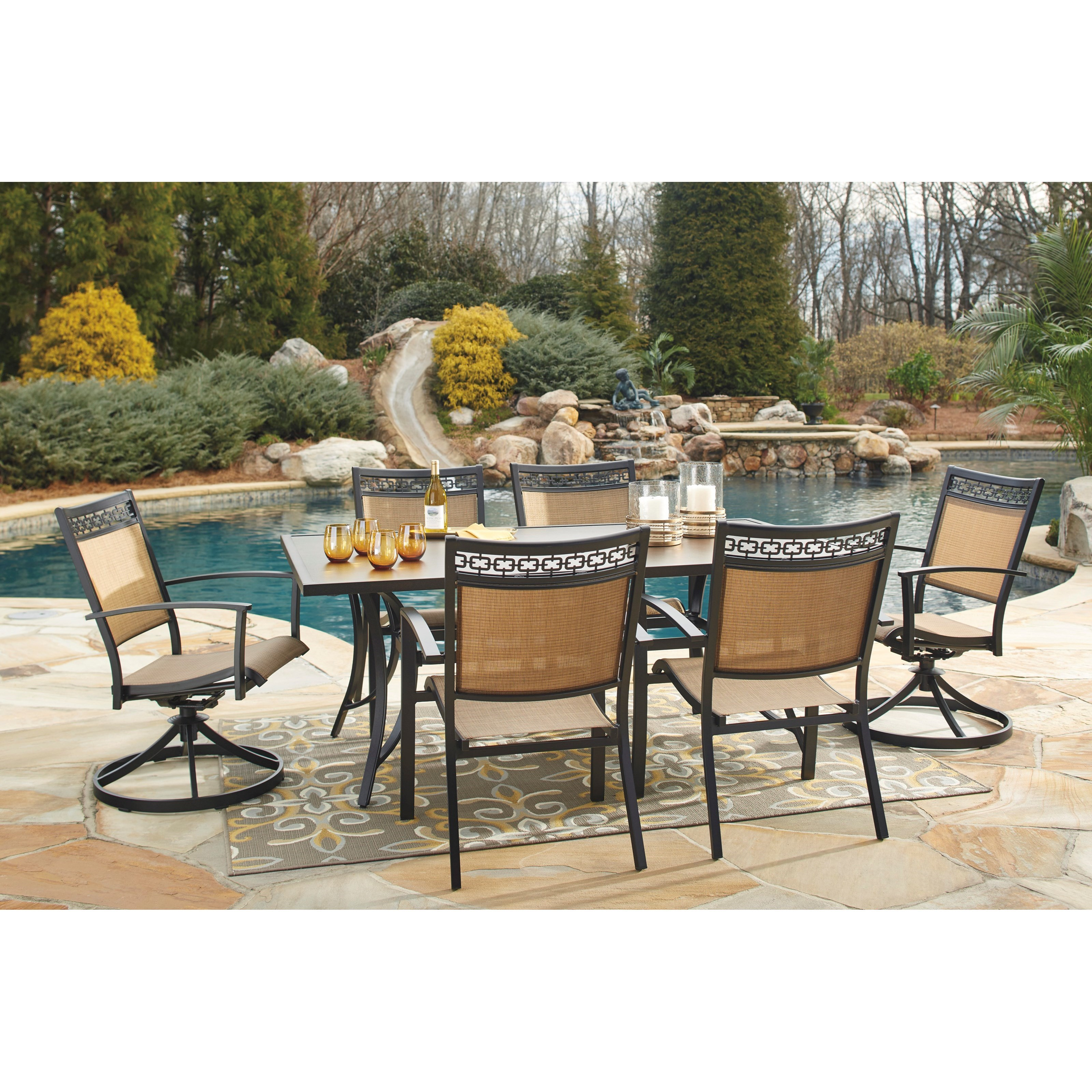 Signature design by ashley carmadelia outdoor rectangular Outdoor dinner table setting