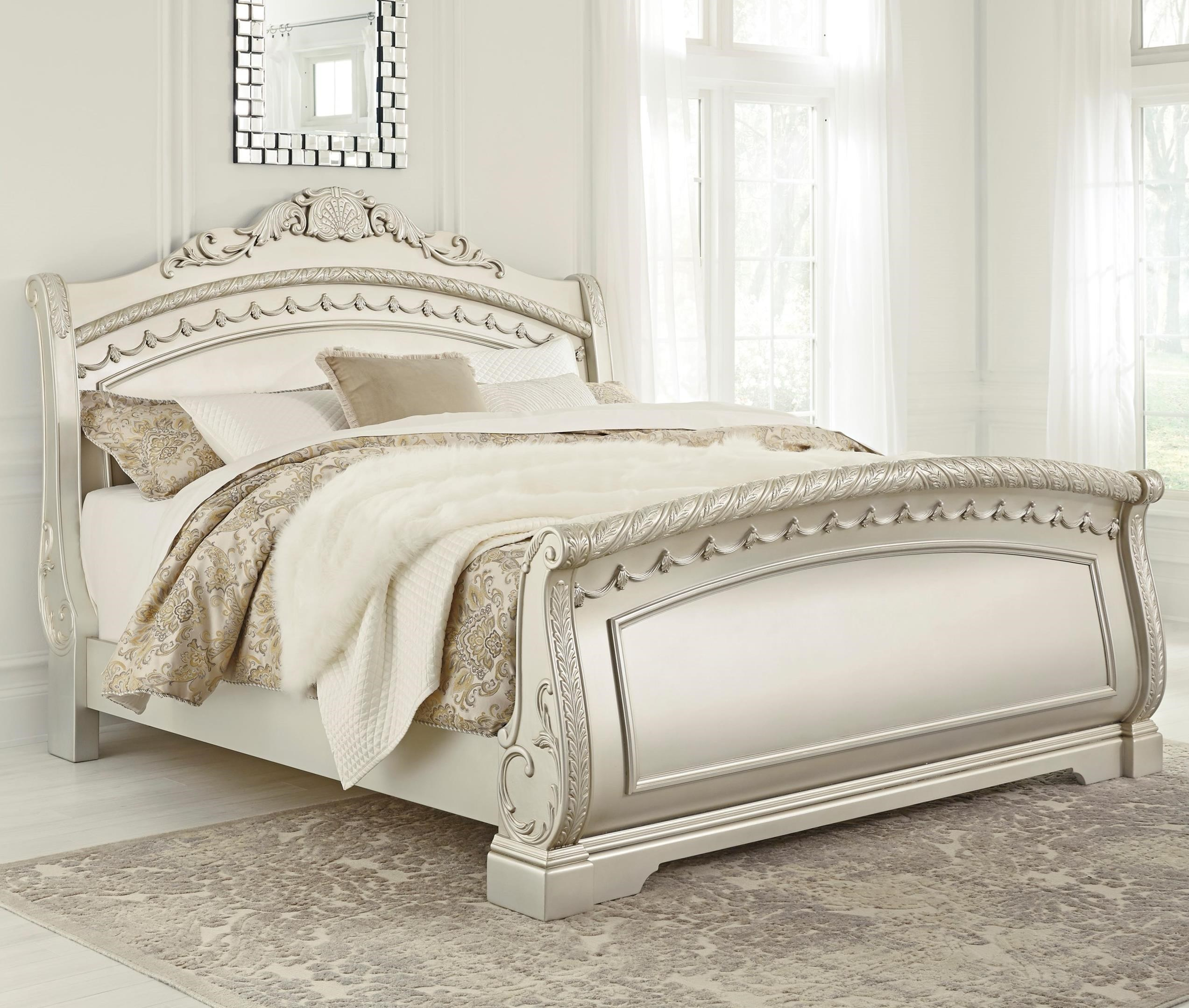 Signature Design By Ashley Cassimore Traditional Queen Sleigh Bed In Silver Finish Royal