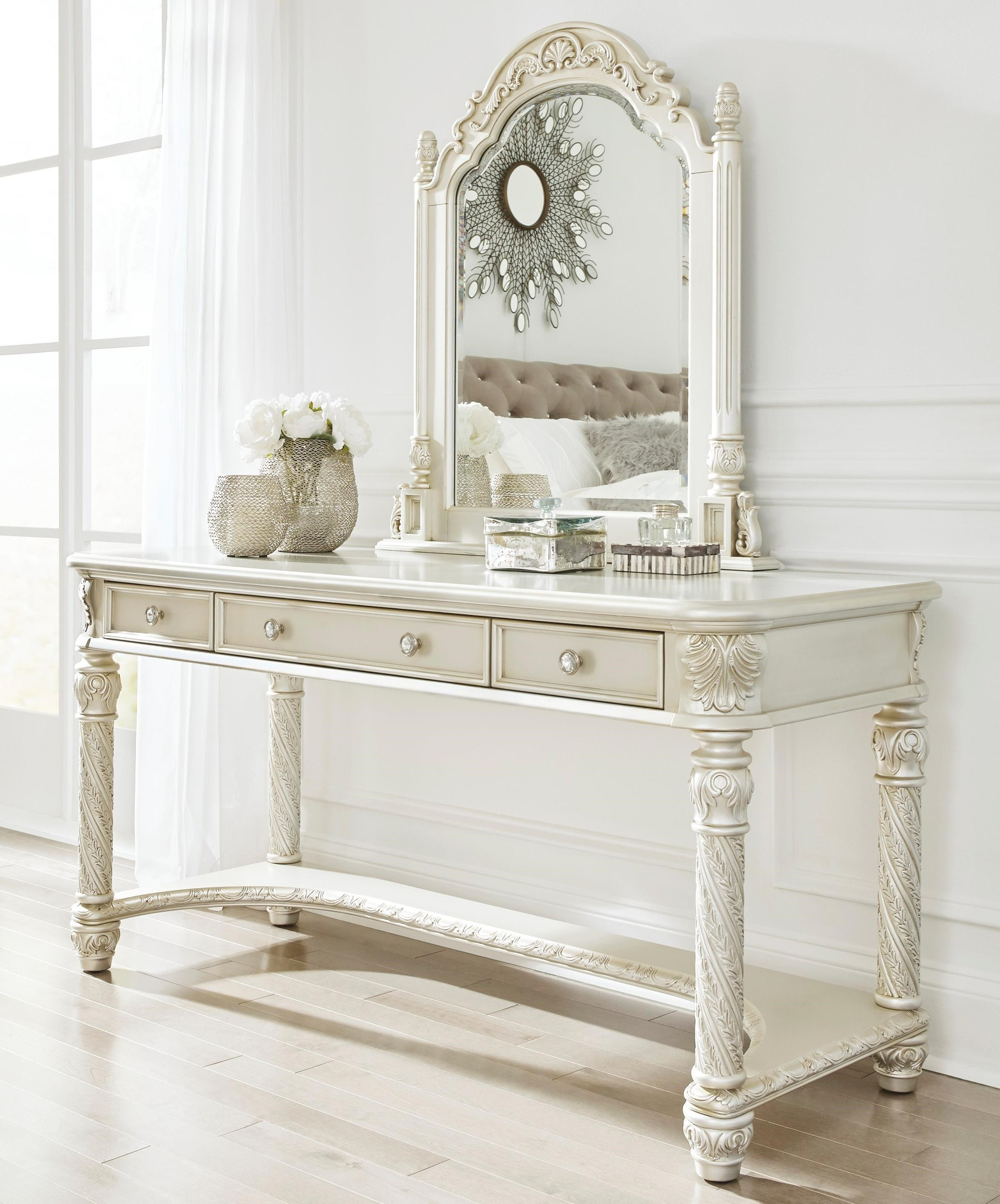 Signature design by ashley cassimore traditional vanity for Vanity mirror sets furniture