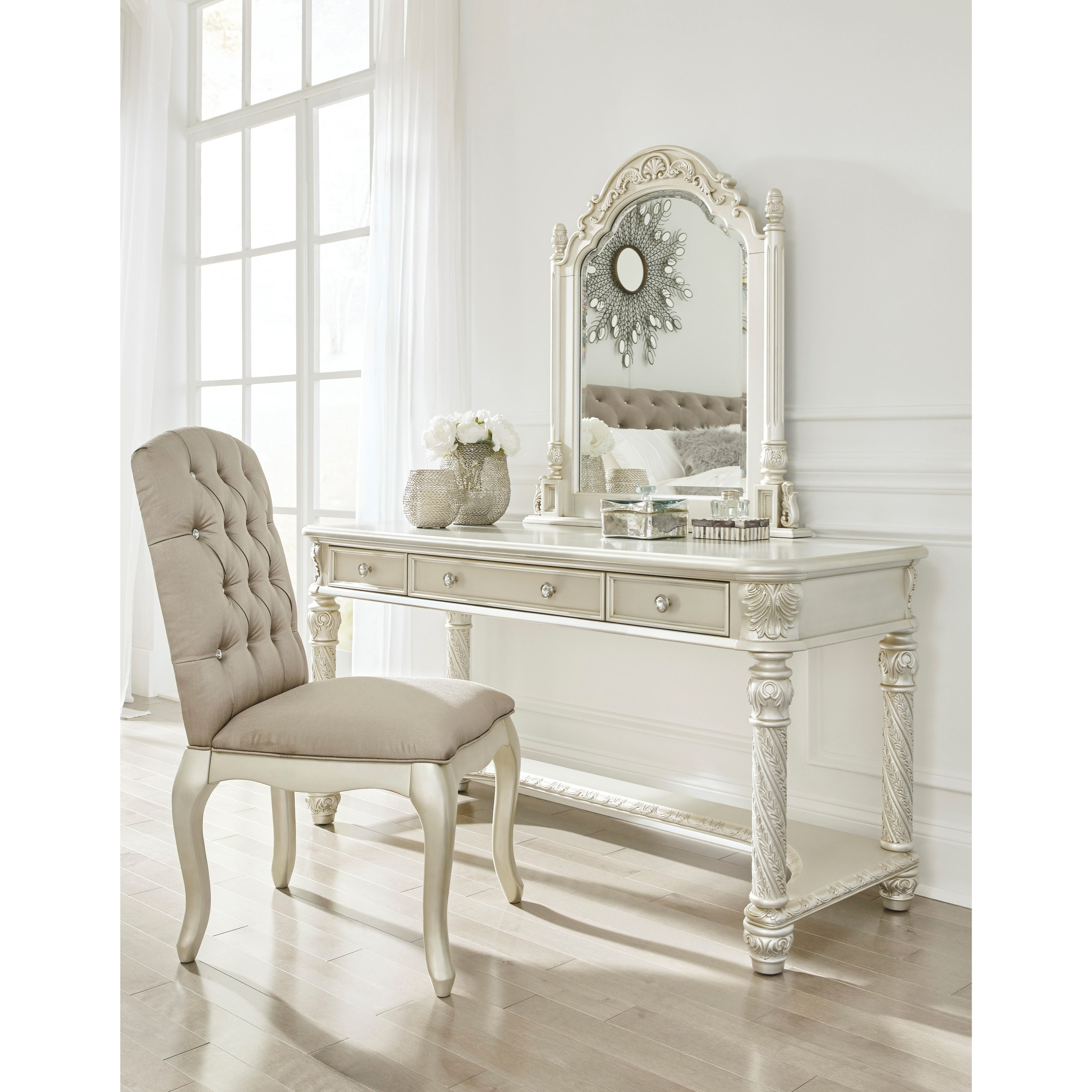 Signature Design By Ashley Cassimore Traditional Vanity Mirror In Silver Finish Value City
