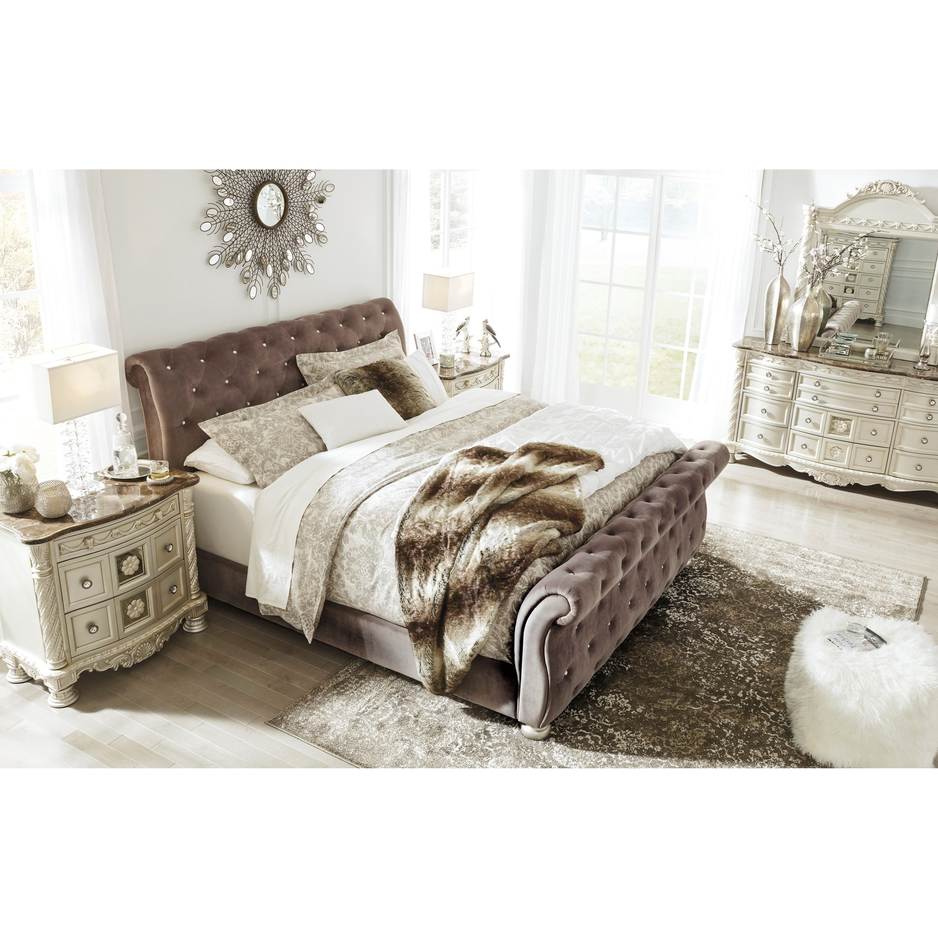 Signature design by ashley cassimore queen upholstered sleigh bed with faux crystal tufting for Upholstered sleigh bedroom set
