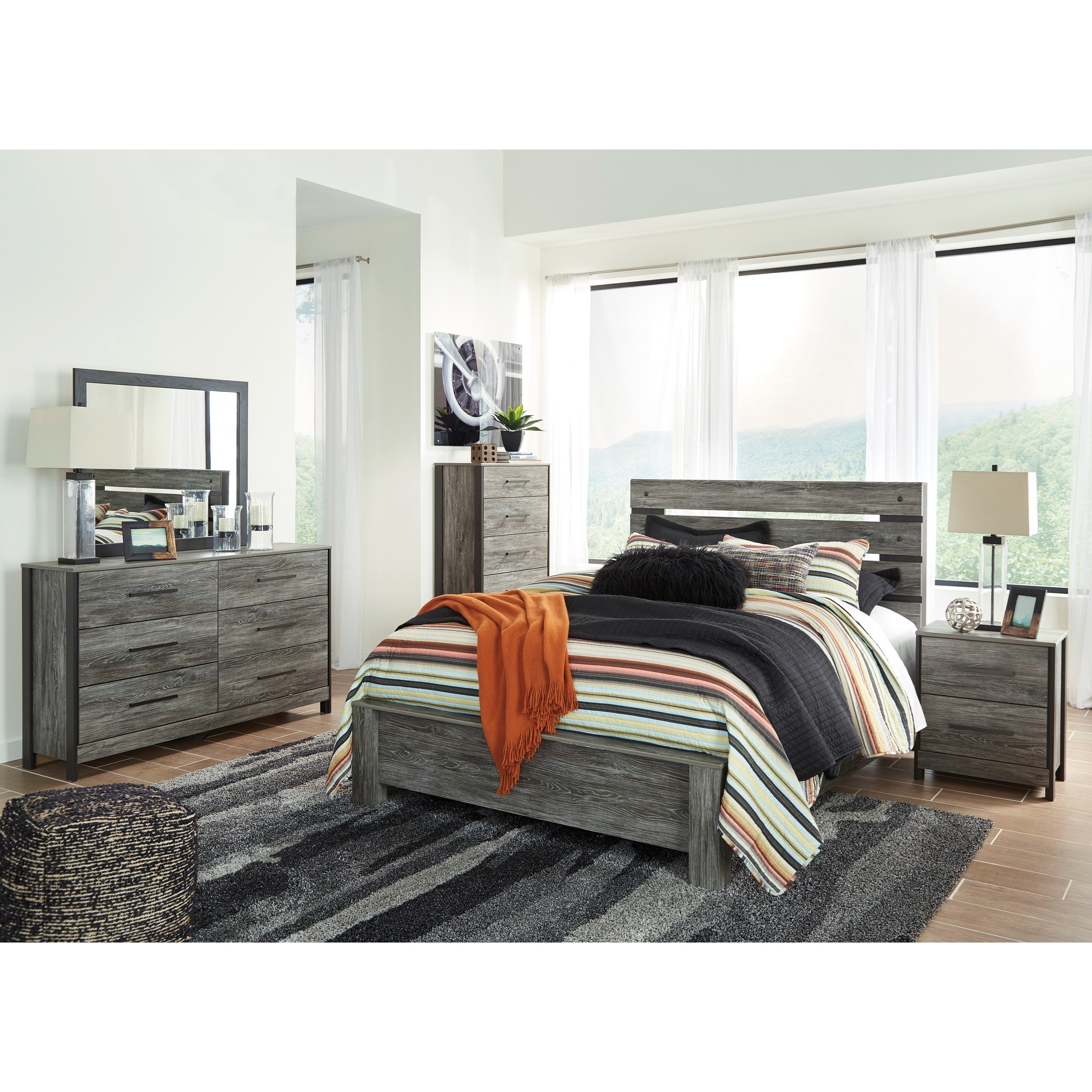 Signature design by ashley cazenfeld queen bedroom group for Bedroom furniture groups