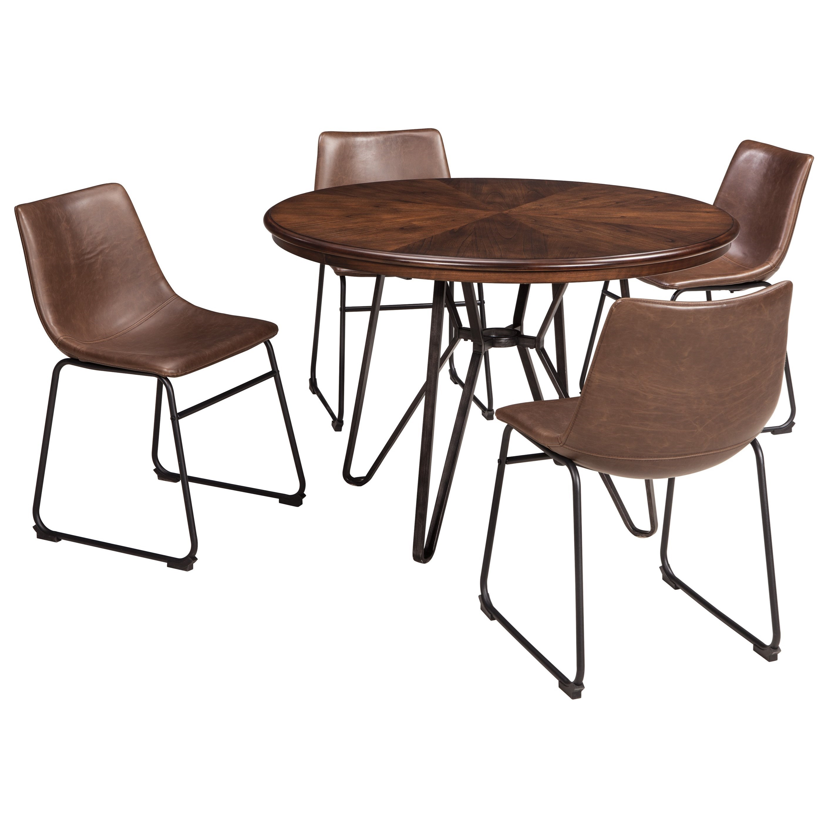 Signature design by ashley centiar 5 piece round dining for Round dining set