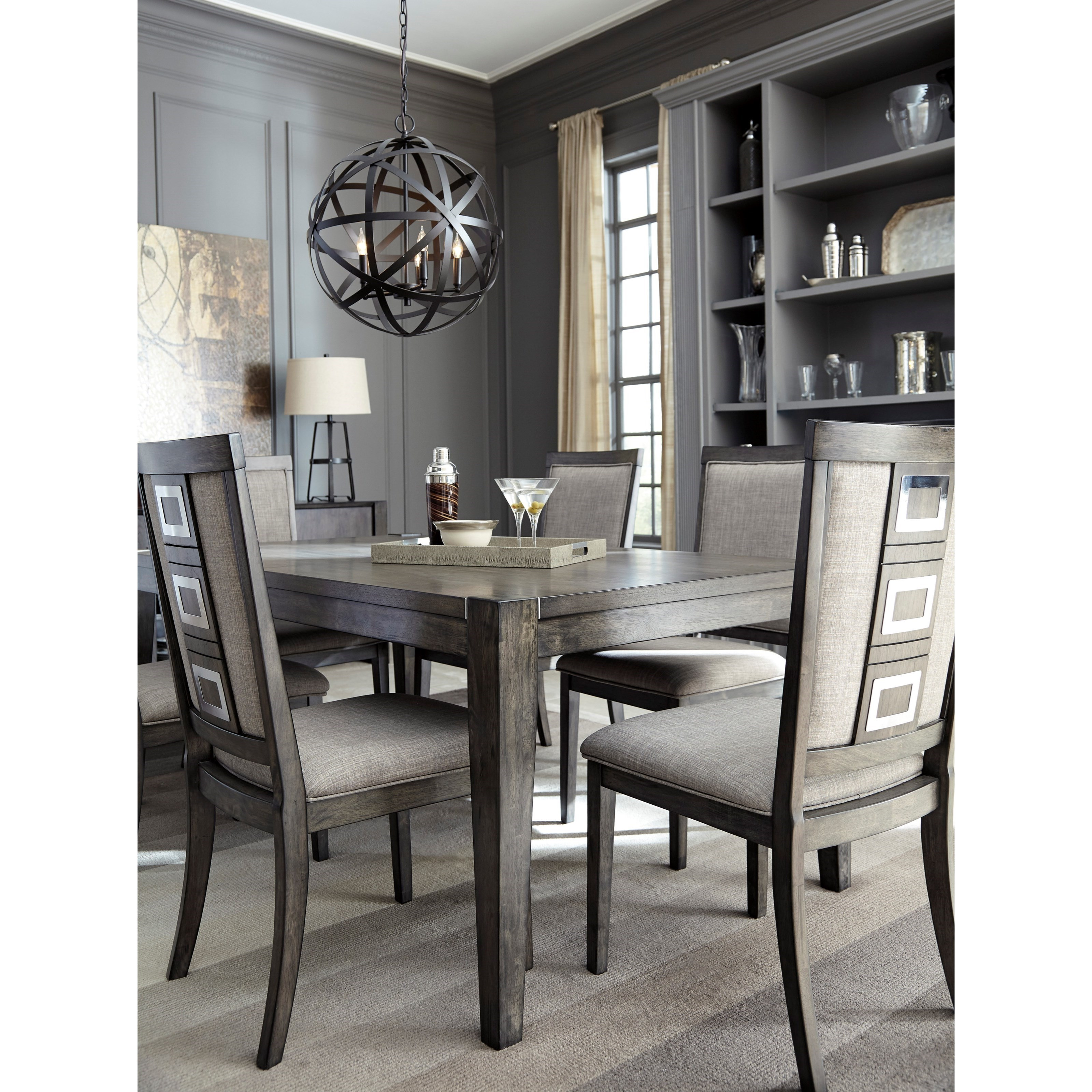 Signature design by ashley chadoni d624 35 contemporary for Rectangular dining room tables with leaves
