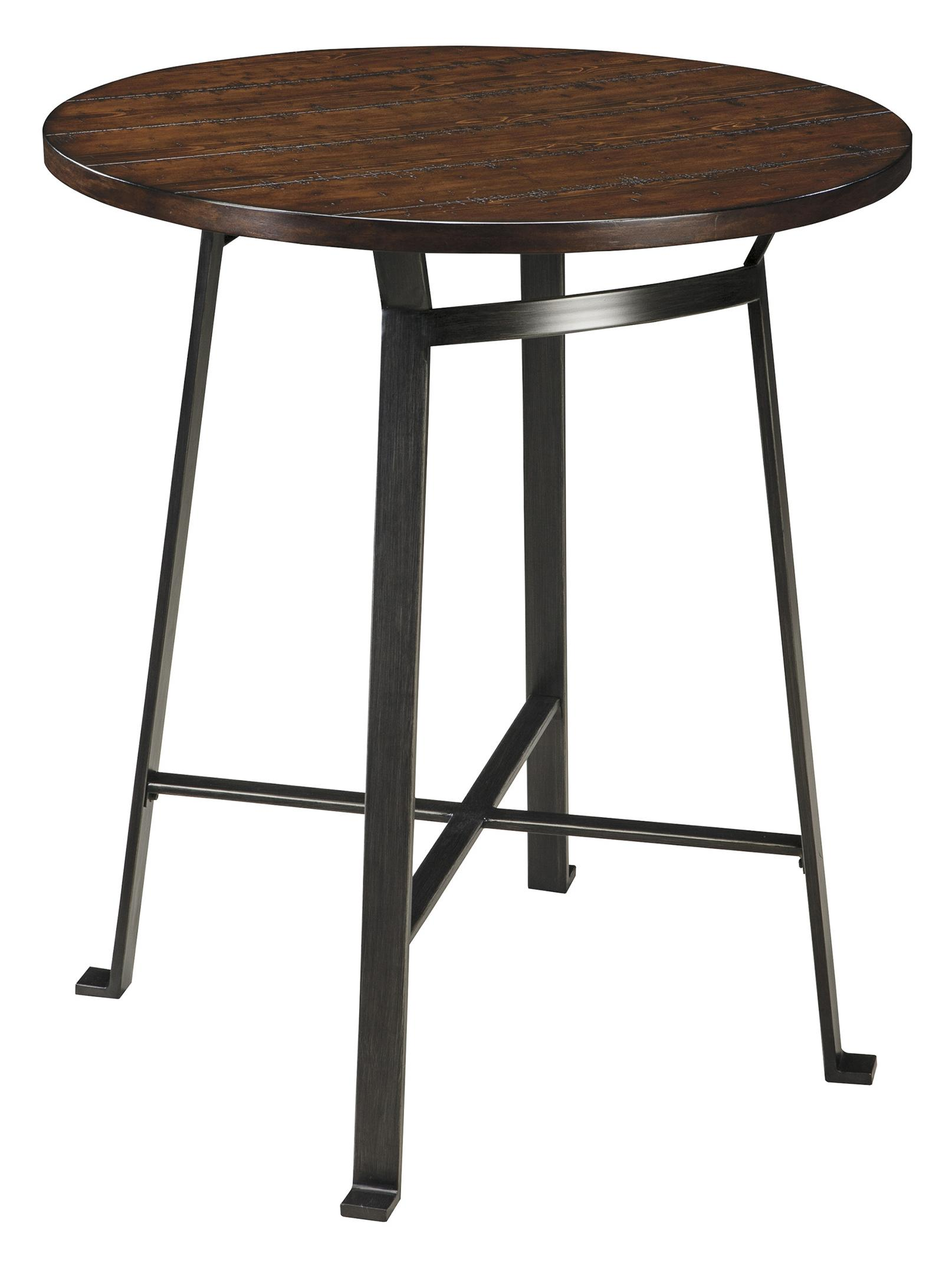 ashley signature design challiman d307 12 industrial style round dining room bar table dunk. Black Bedroom Furniture Sets. Home Design Ideas